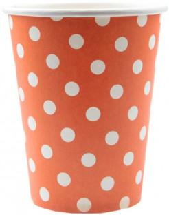 10 Vasos naranjas puntos blancos