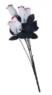 Ramo de 6 rosas blancas sangrientas tela 54 cm Halloween