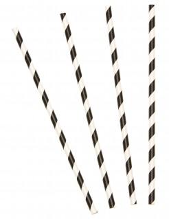 10 Pajitas rayas negras