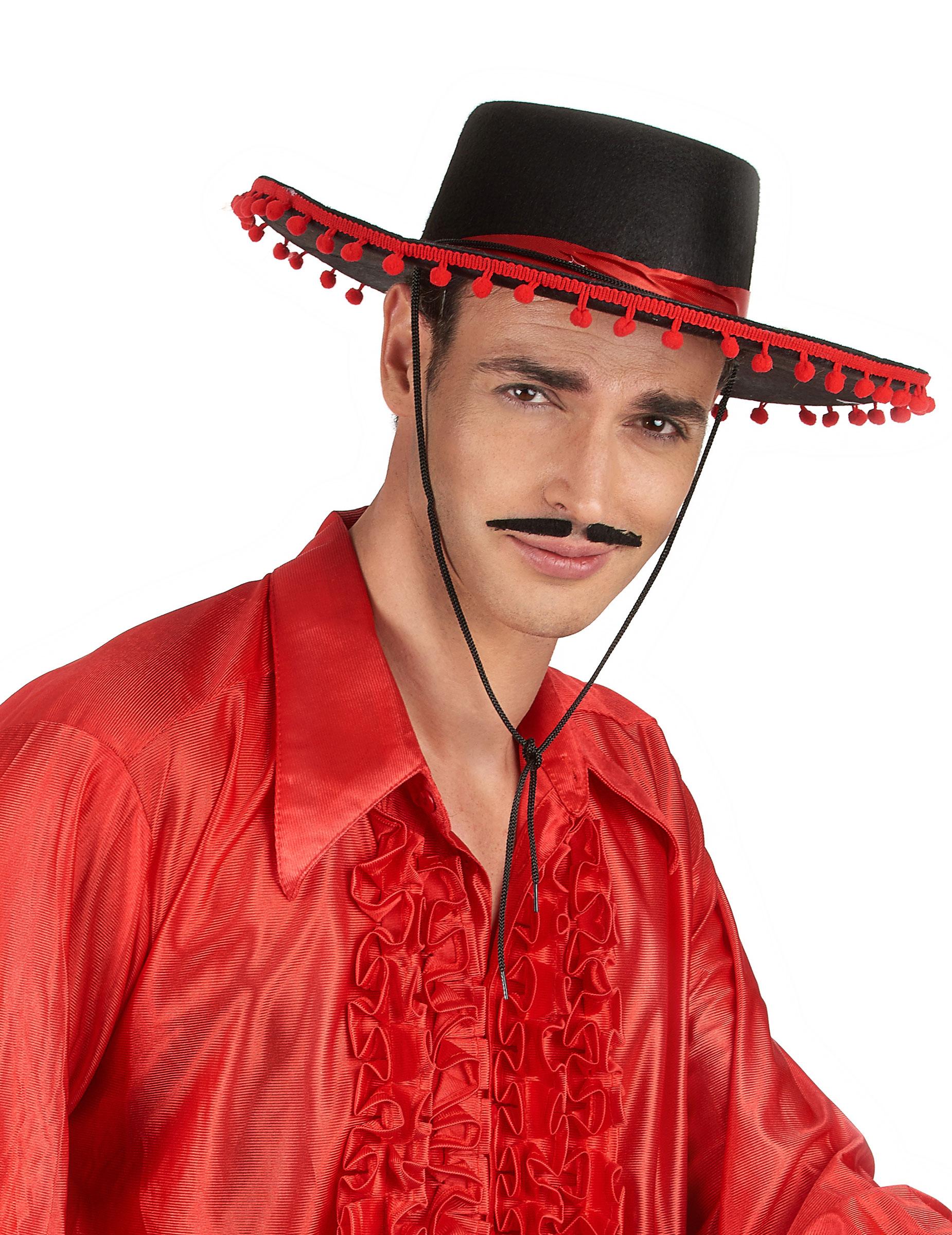 Sombrero mejicano negro y rojo  Sombreros db7f8f0a74a