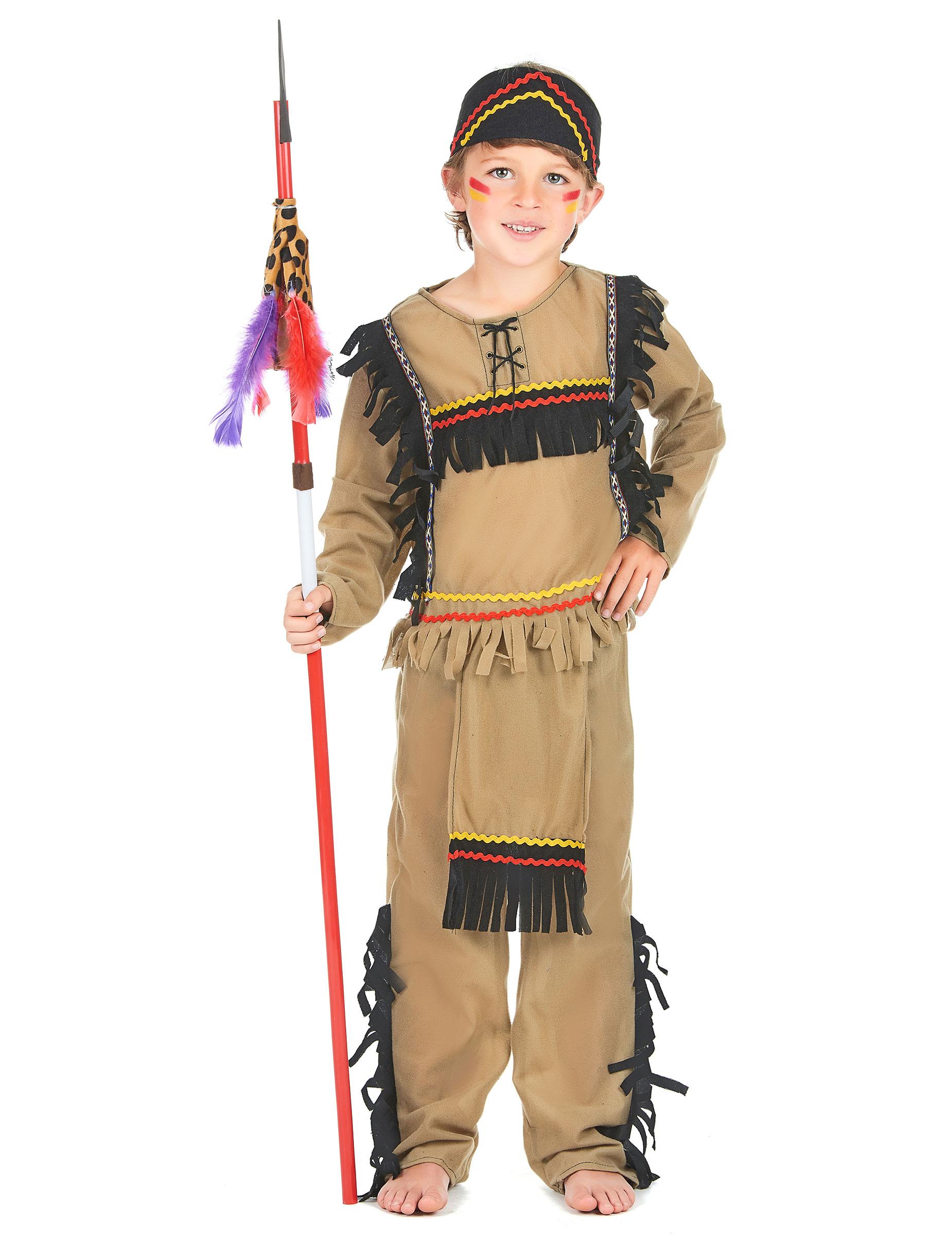 ec48a40aa0c19 Disfraz de indio para niño flecos negros