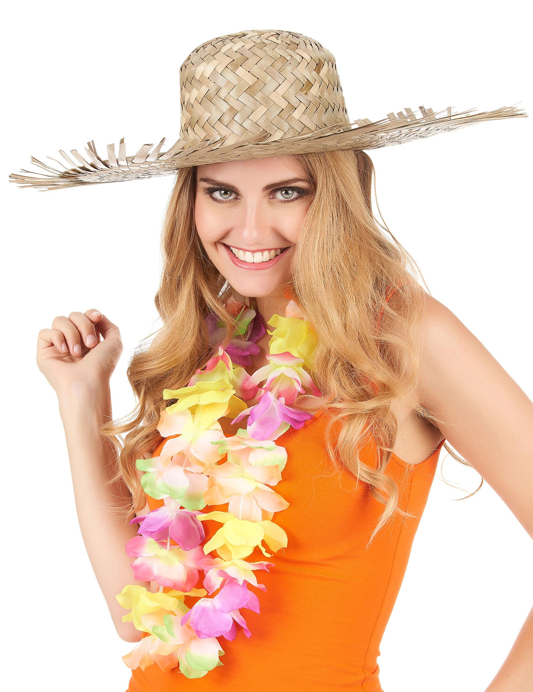 3a0a89d88405b Sombrero hawaiano de paja para adulto  Sombreros