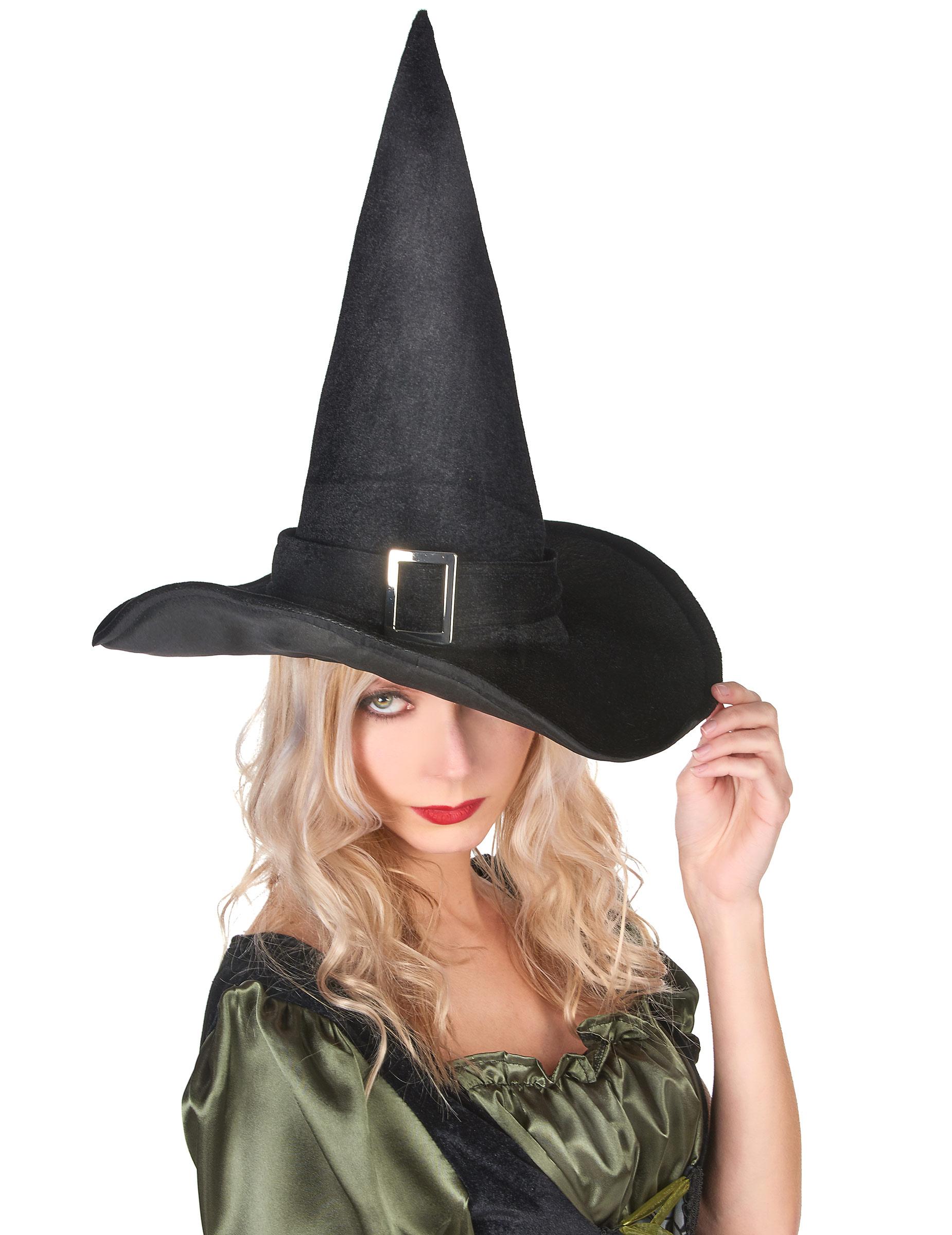 Sombrero de bruja de terciopelo para mujer ideal para Halloween b7ab45d7e04