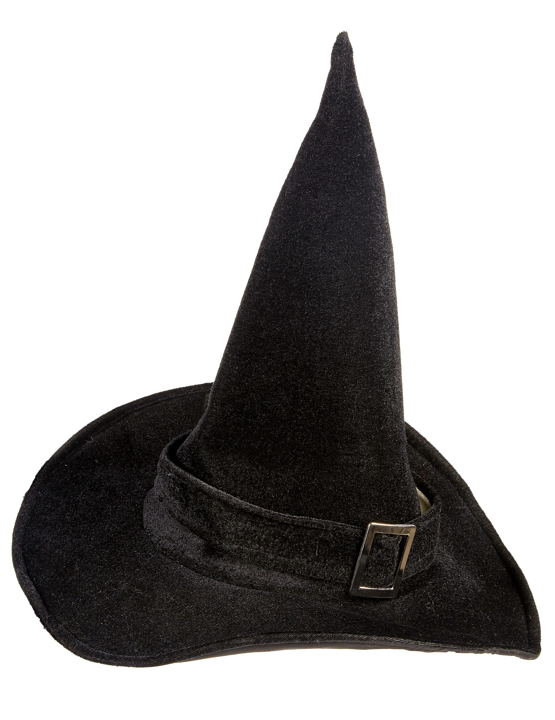 Sombrero de bruja de terciopelo para mujer ideal para Halloween-1 374636b8fb9