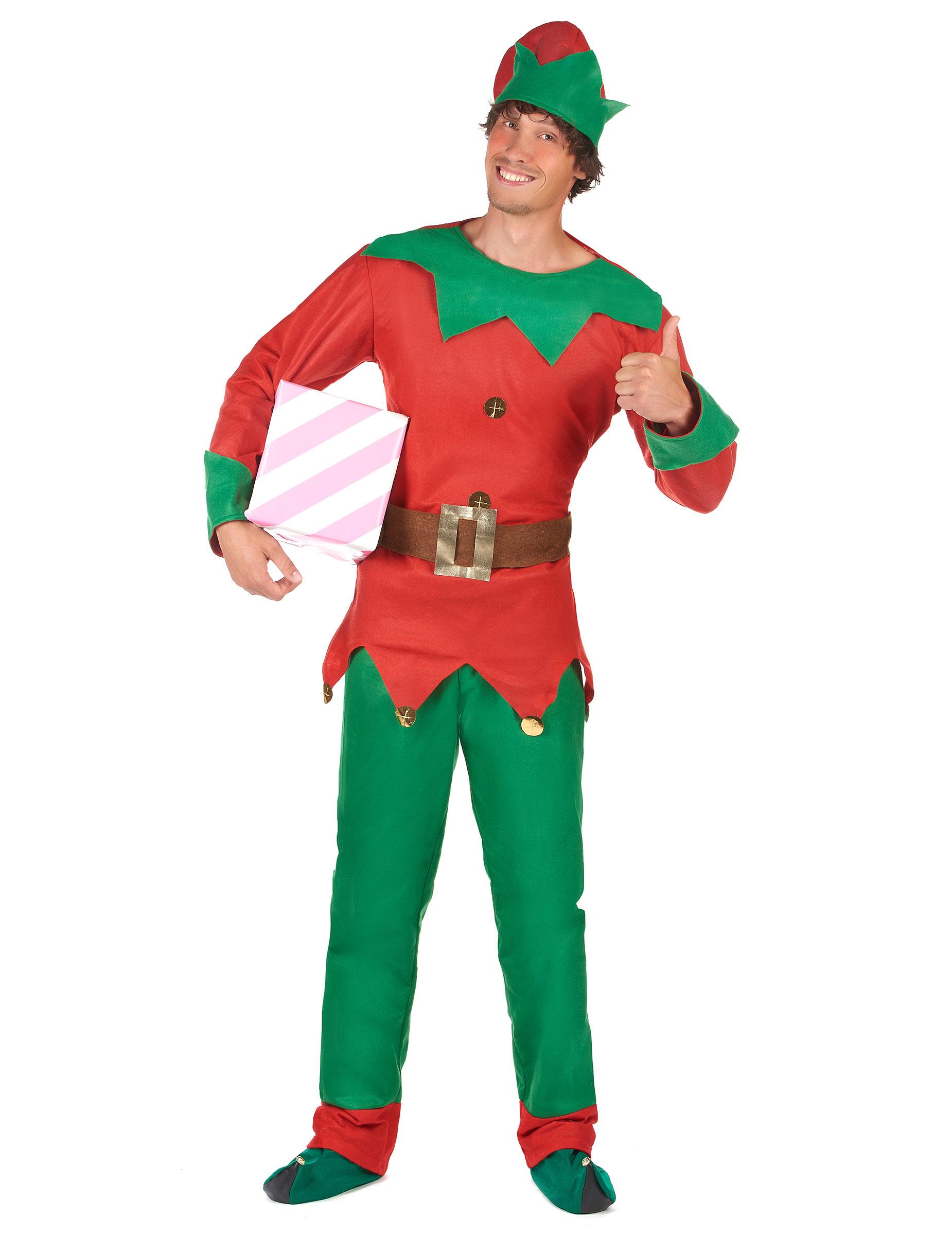 Disfraz de duende de Navidad para hombre