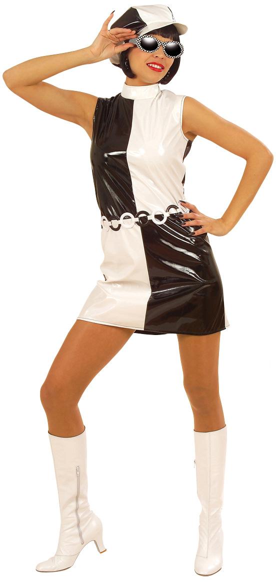 Disfraz blanco y negro de los a os 60 para mujer for Disfraces de los anos 60