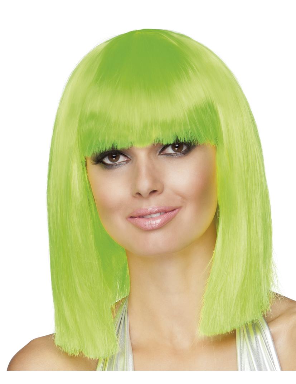 f23185726 Peluca para mujer color verde fluorescente en forma de media melena cuadrada