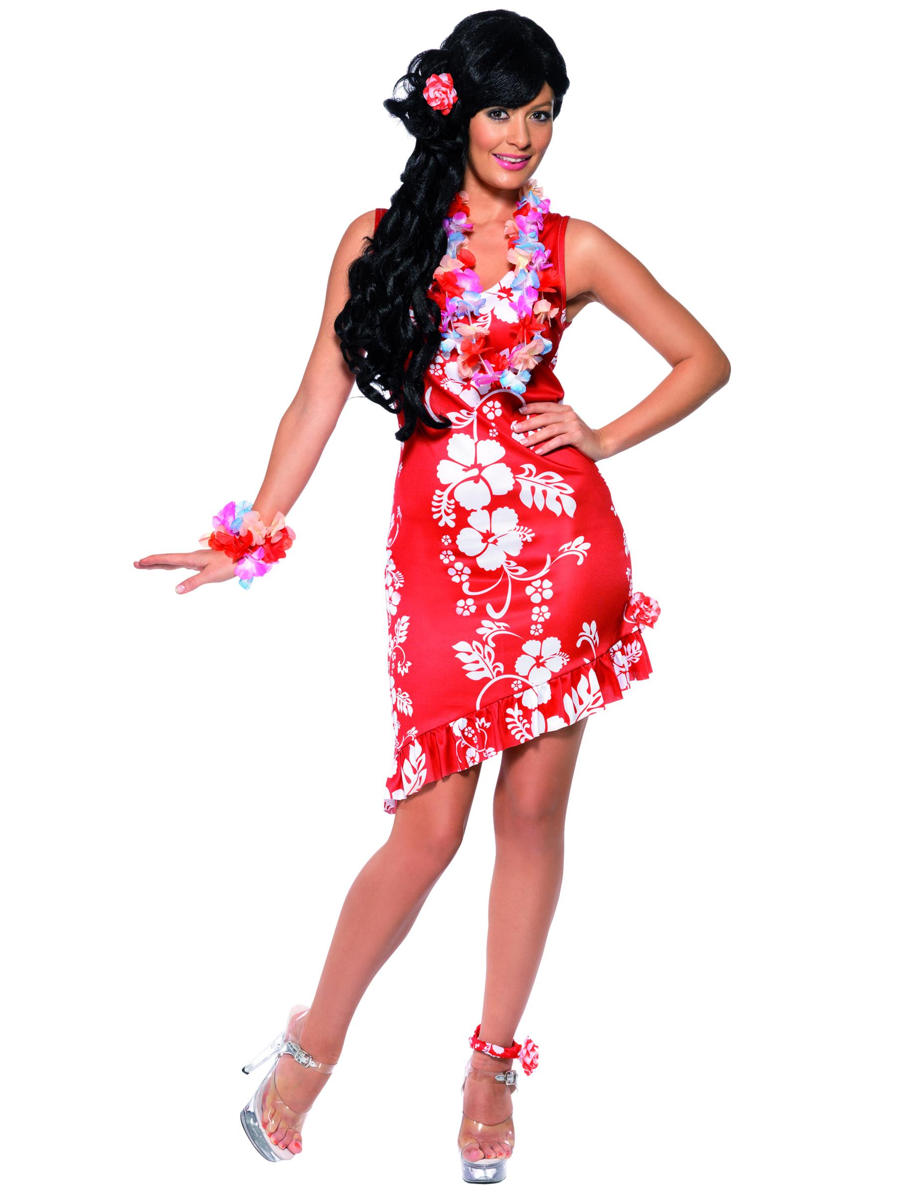 Disfraz blanco y rojo de hawaiana para mujer: Disfraces adultos,y ...
