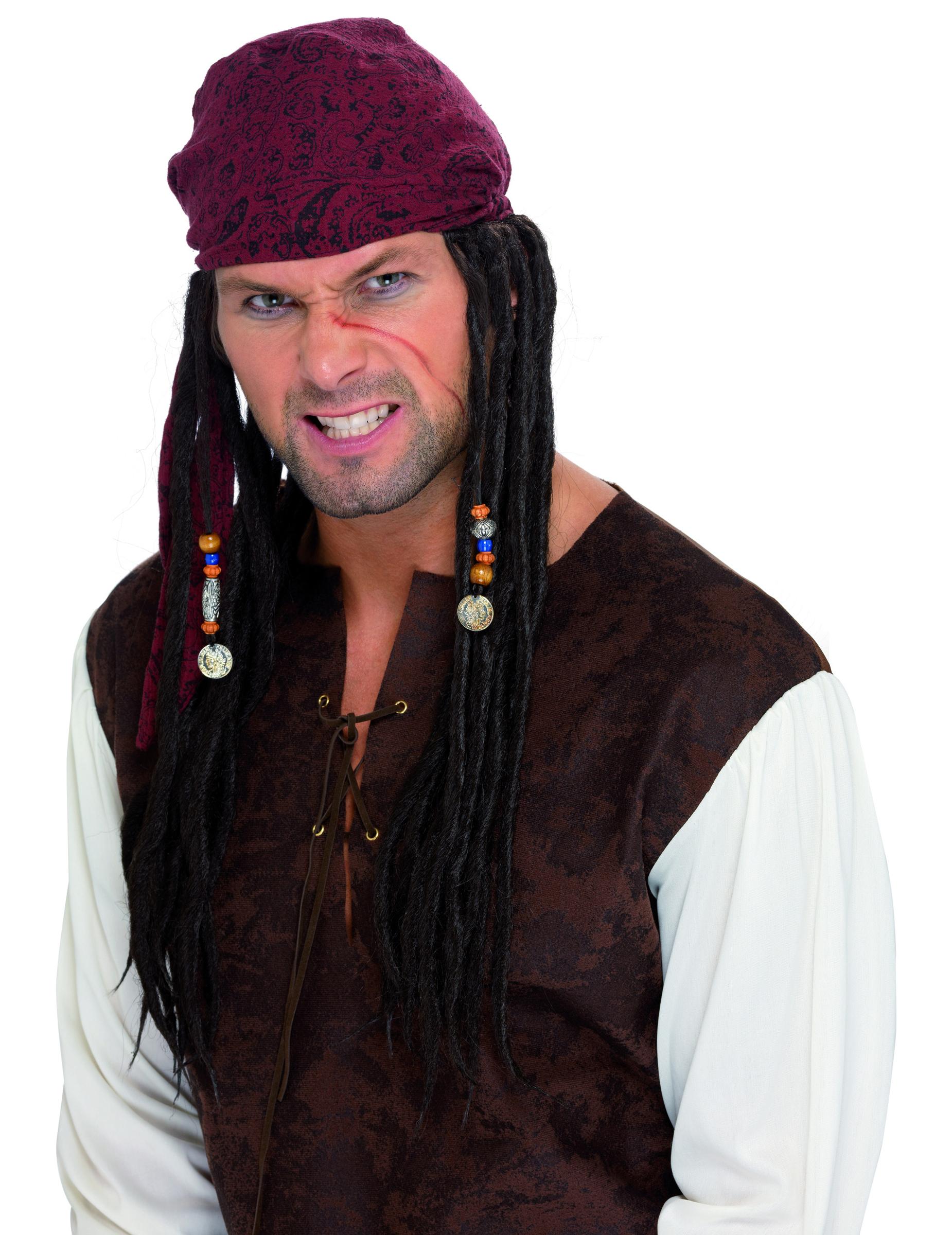 Peluca de pirata con rastas para hombre  Pelucas d29ef4fe487