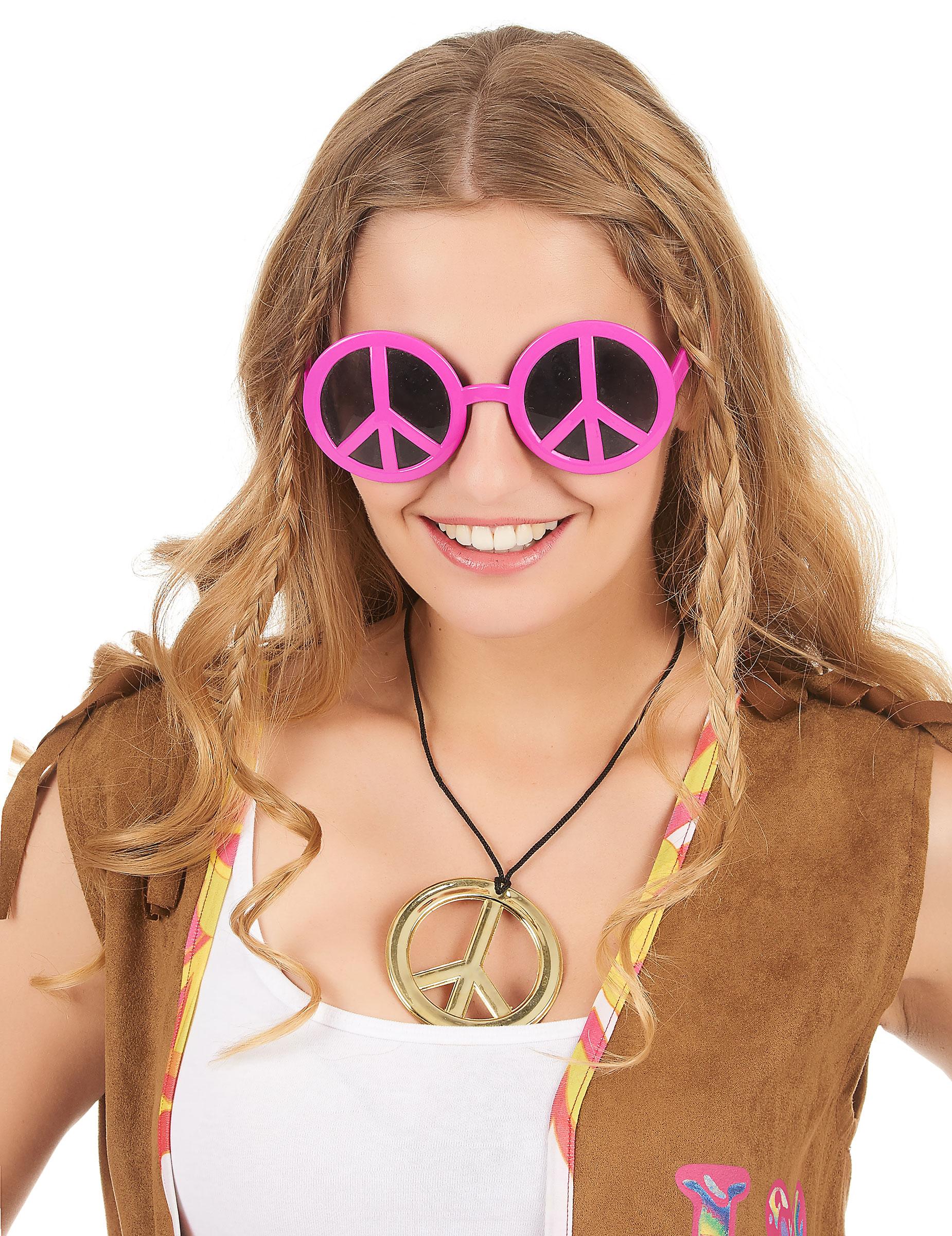 Gafas hippies rosas para adulto  Accesorios ed7700fb1a62