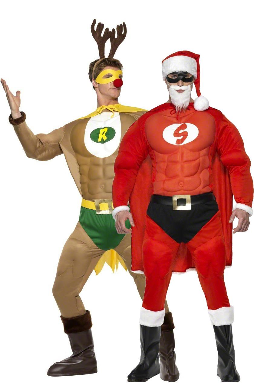disfraz de pareja de super reno y super pap noel musculosos