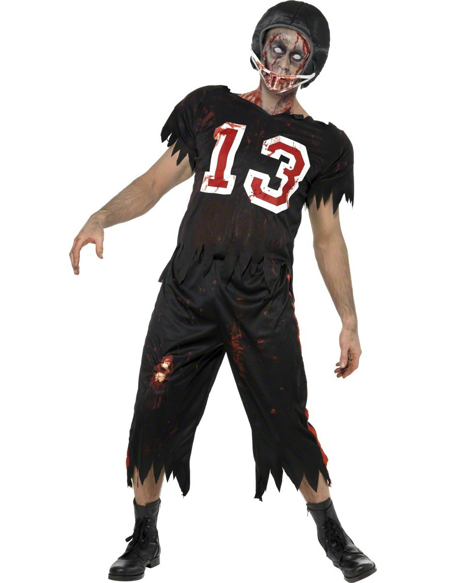 Disfraz de jugador de fútbol americano zombie para hombre ideal para  Halloween cf321347d972