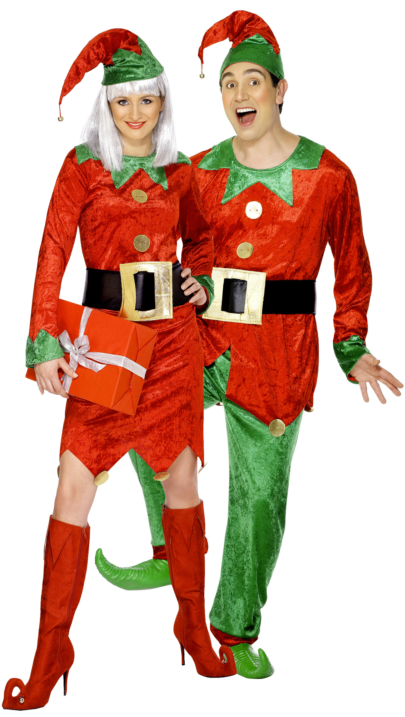 disfraz de pareja de duendes de navidad