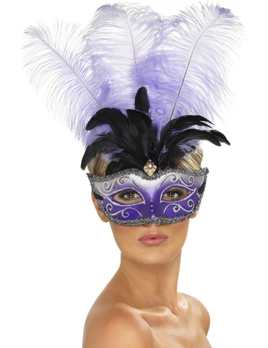 Mscara veneciana violeta para adulto Mscarasy disfraces