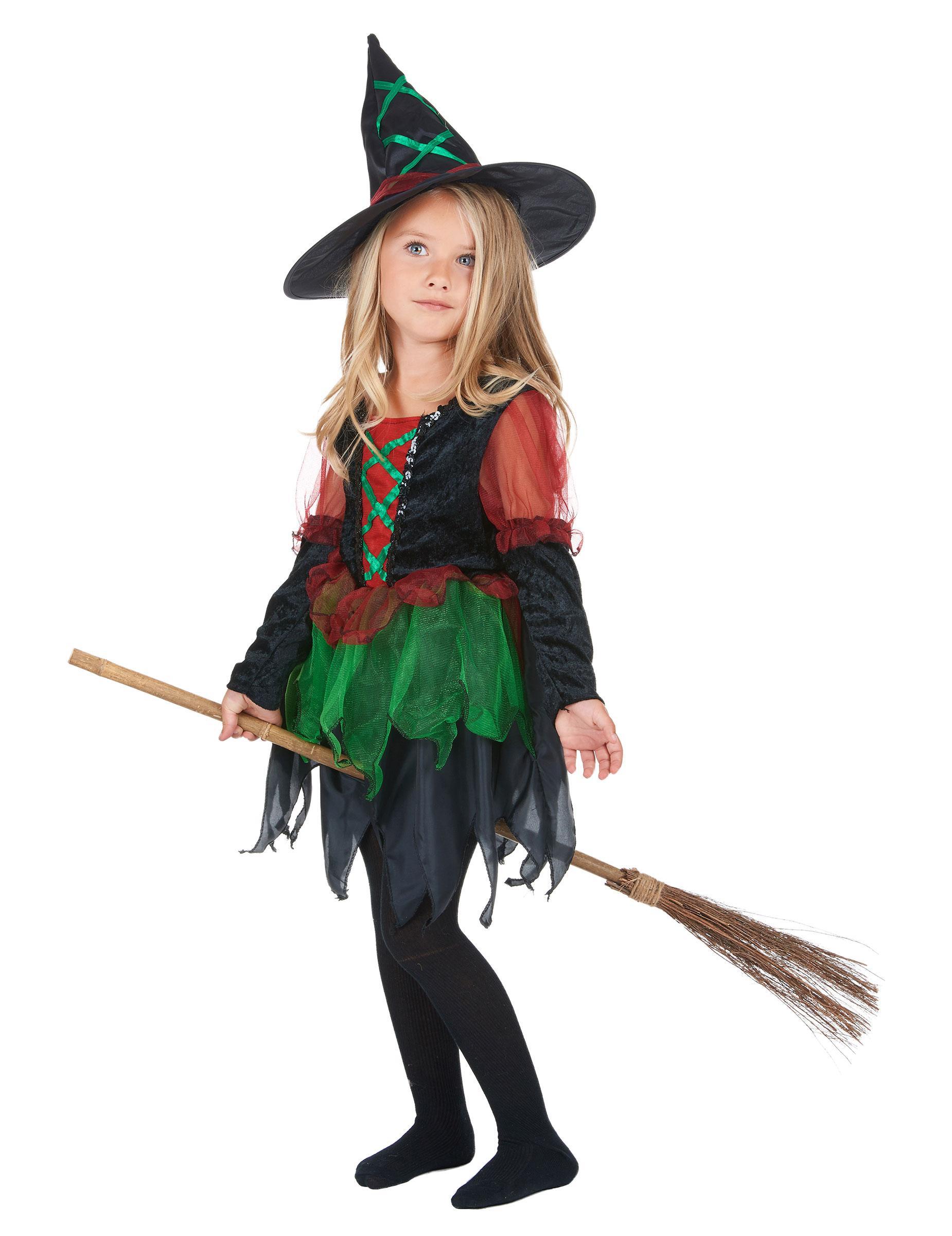 Disfraz de bruja del bosque para ni a ideal para halloween - Como pintar a una nina de bruja para halloween ...