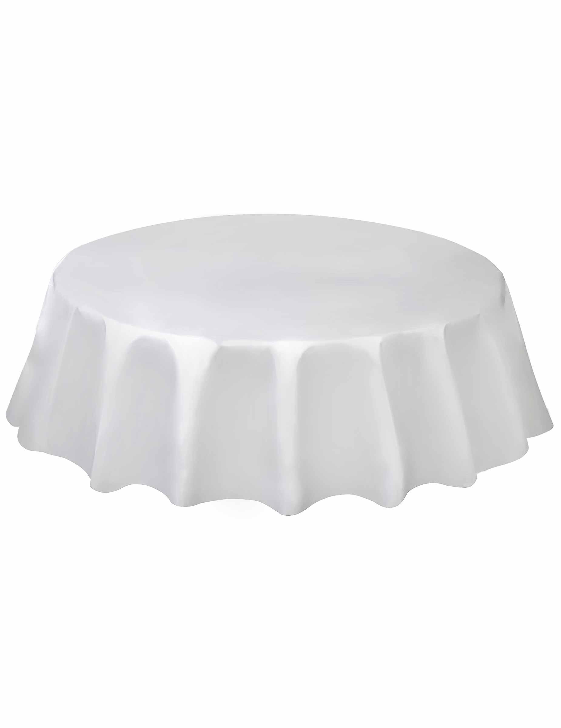 Mantel redondo blanco pl stico 213 cm decoraci n y disfraces originales baratos vegaoo - Mantel plastico ...