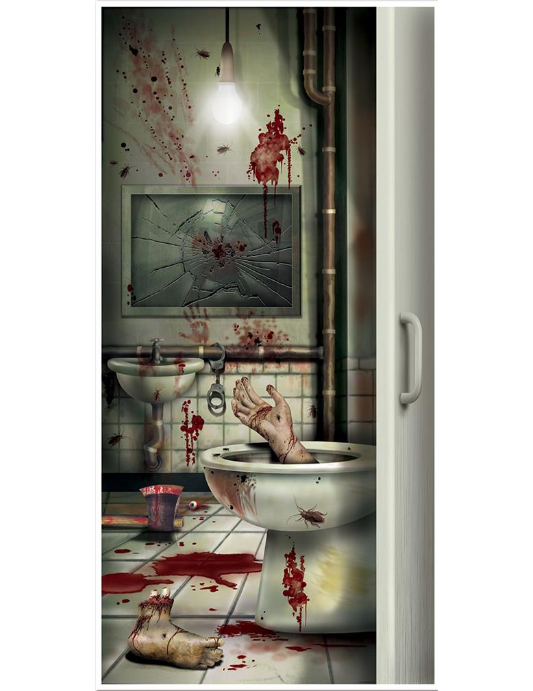 Decoraci n para puerta cuarto de ba o con sangre halloween for Decoracion para puertas halloween