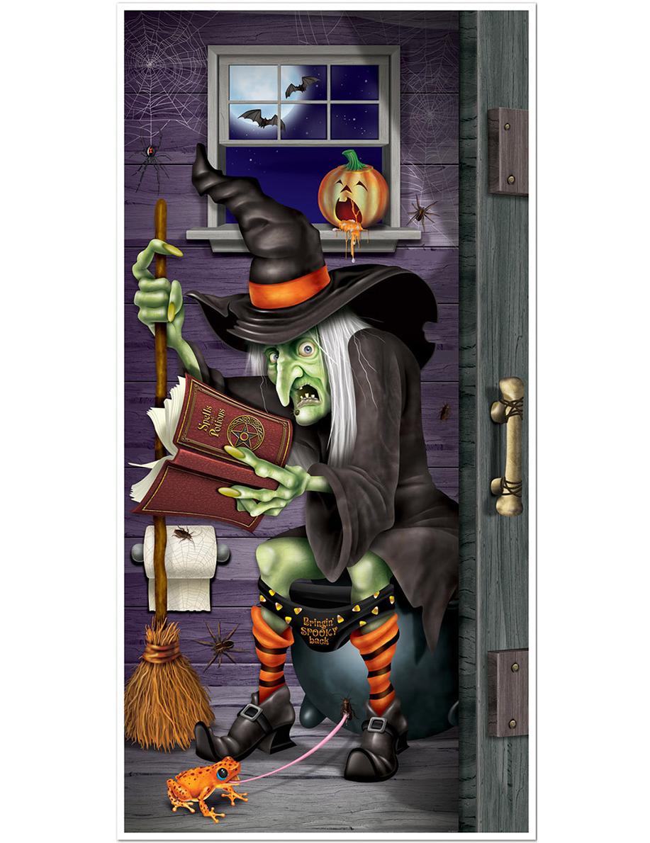 Decoraci n de puerta bruja en el ba o halloween for Decoracion para puertas halloween