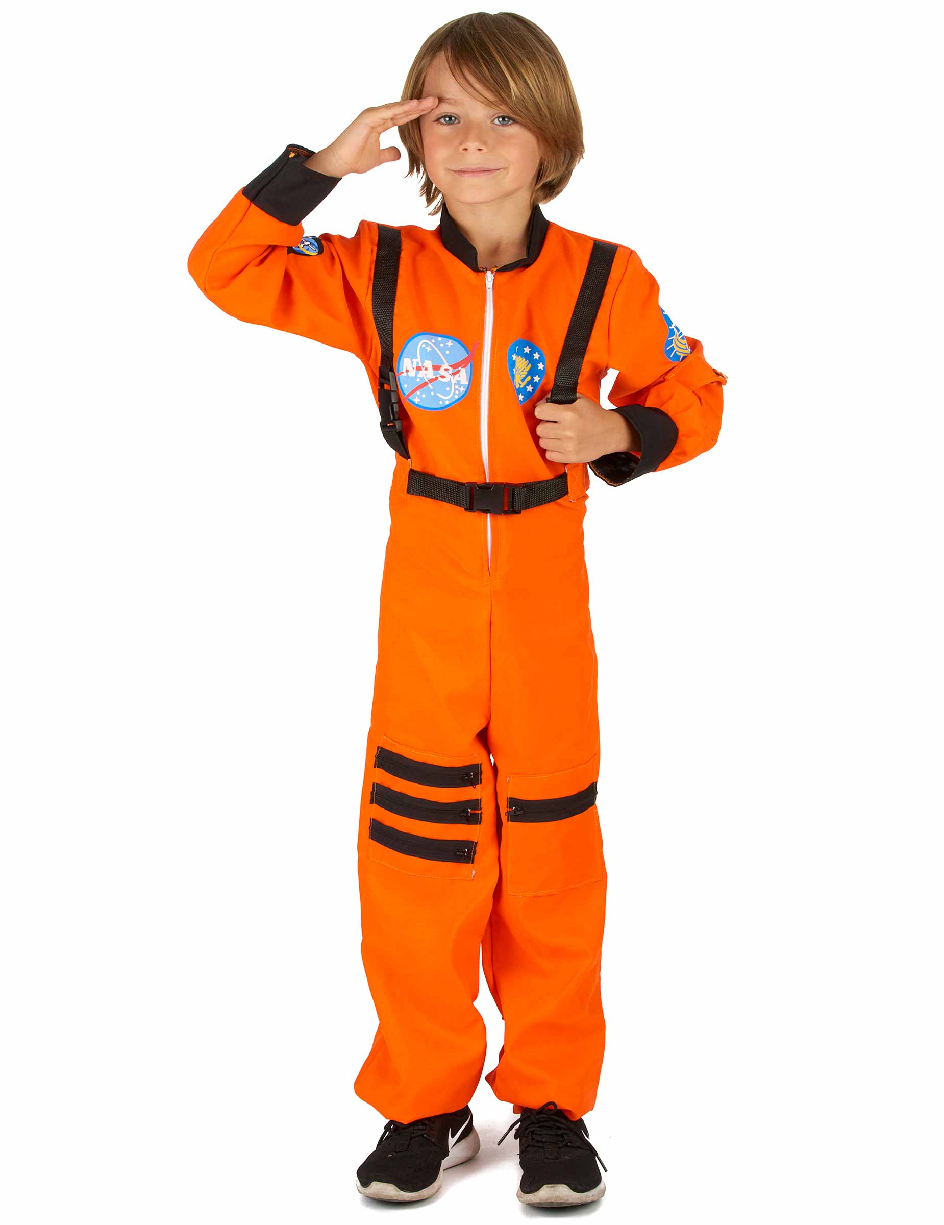 Disfraz de astronauta: Disfraz de astronauta con casco blando a juego. Disfraz con aplicaciones bordadas, bolsillos decorativos, hebillas de plástico, cuello ligeramente acolchado y cremallera delante.