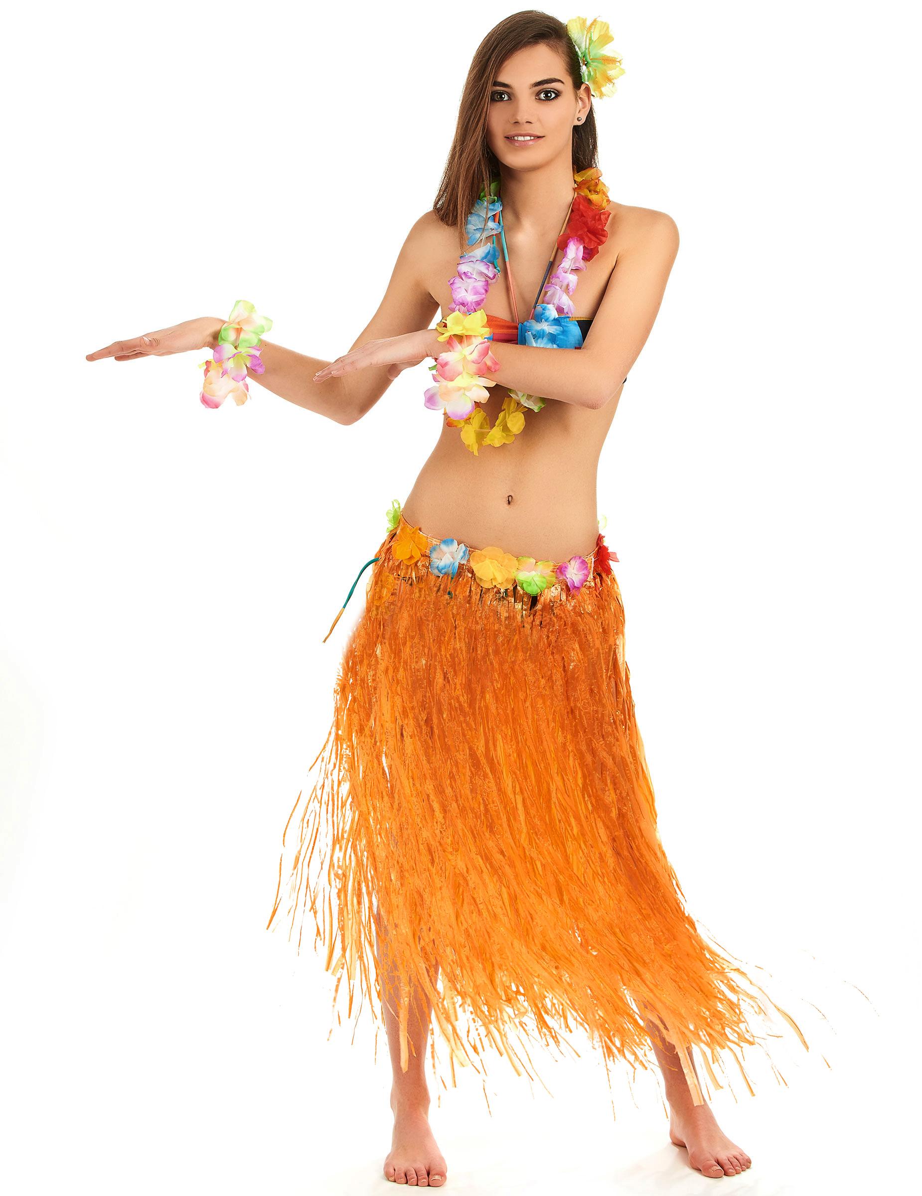 b0891c8dc Falda hawaiana naranja adulto