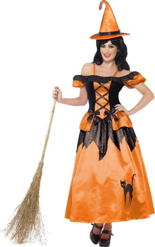 Disfraz de bruja negro y naranja mujer Halloween