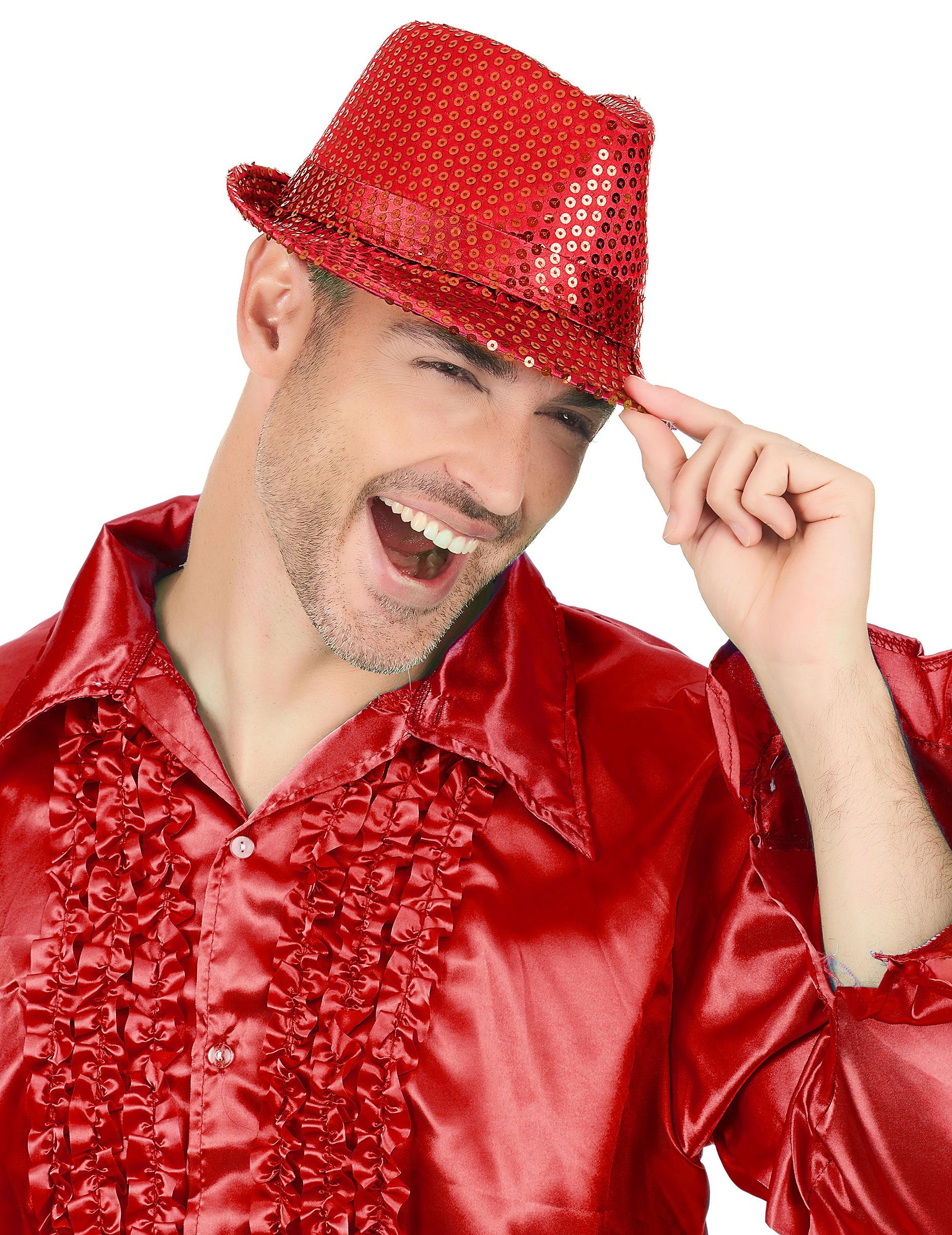 Sombrero rojo lentejuelas adulto  Sombreros a8f97fcd7ae