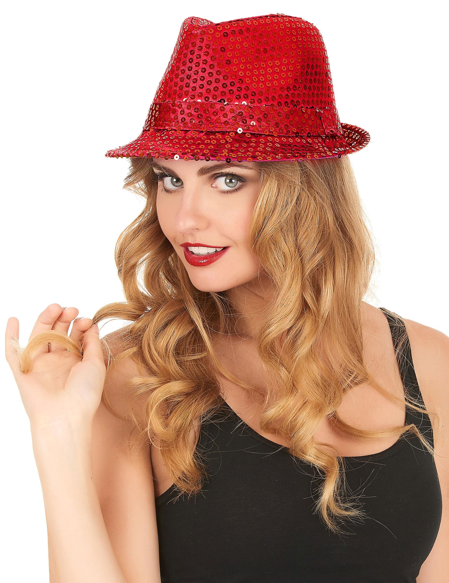 Sombrero rojo lentejuelas adulto  Sombreros 834552f09c6
