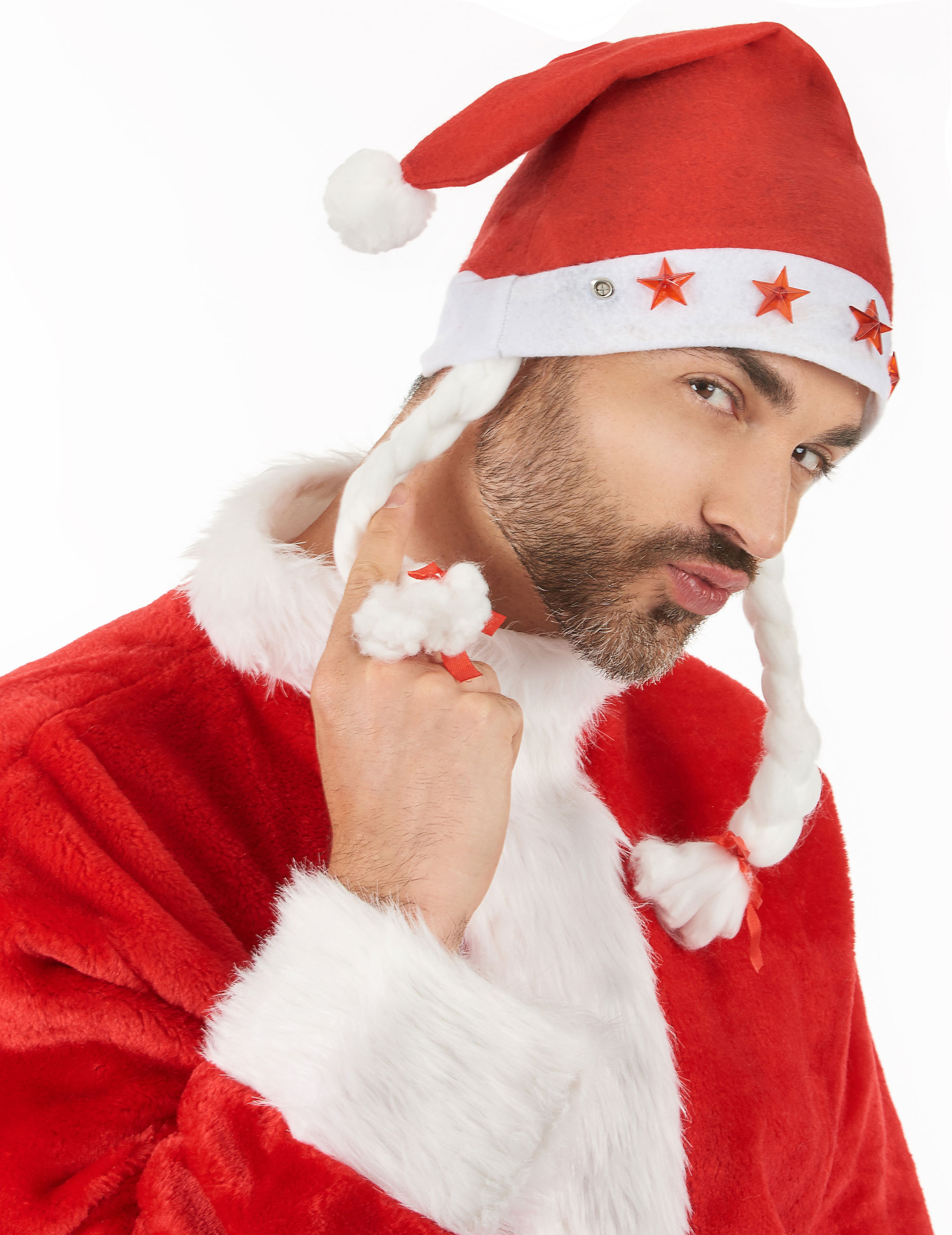 e43b4fa92c39d Gorro Navidad luminoso con trenzas  Sombreros