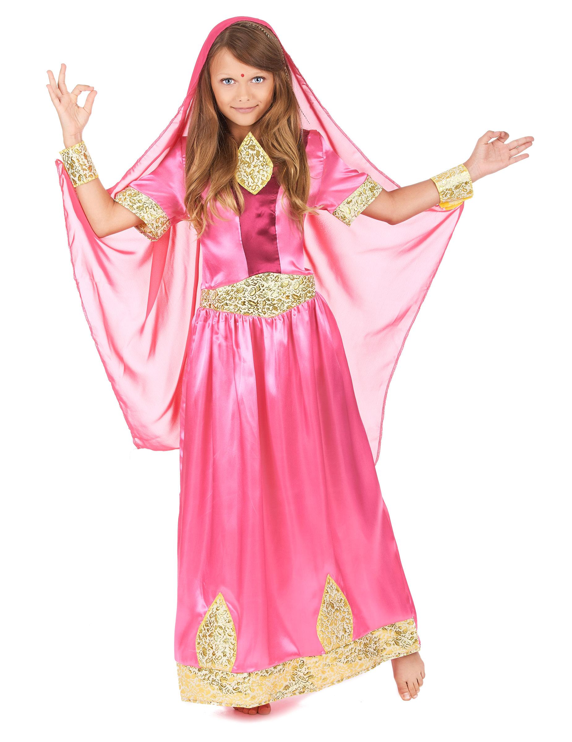 Disfraz de princesa bollywoood rosa niña