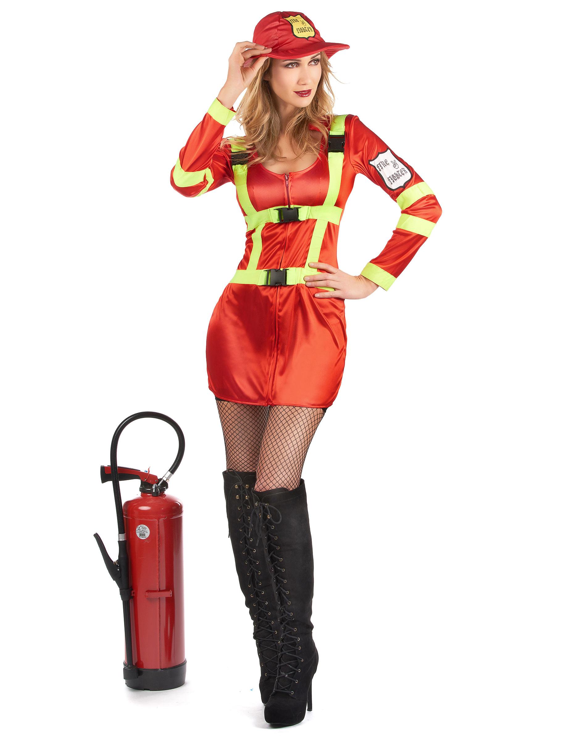 Disfraz De Bombero Satinado Mujer Disfraces Adultos,Y -9580