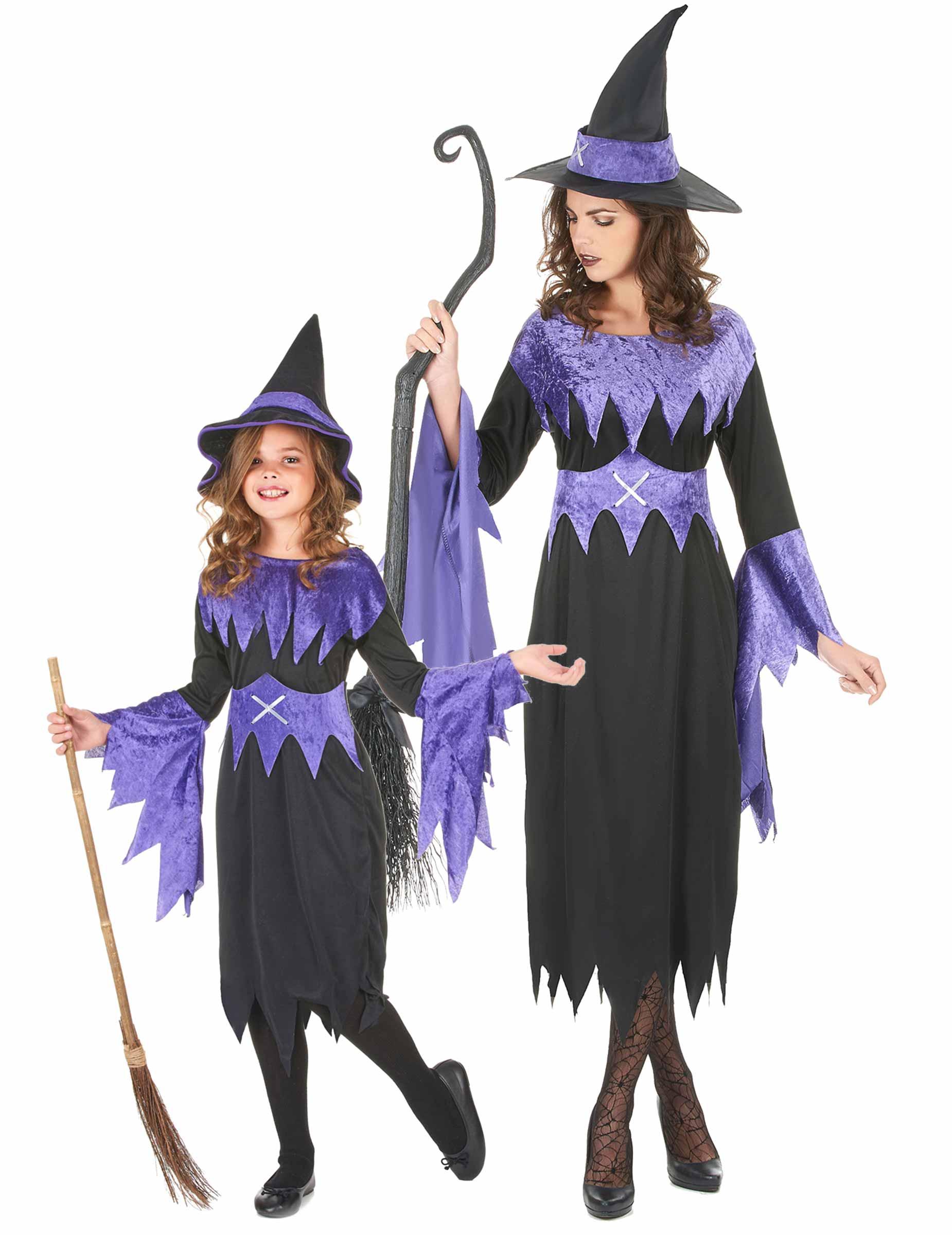 Disfraz de pareja de brujas violeta Halloween madre e hija ...