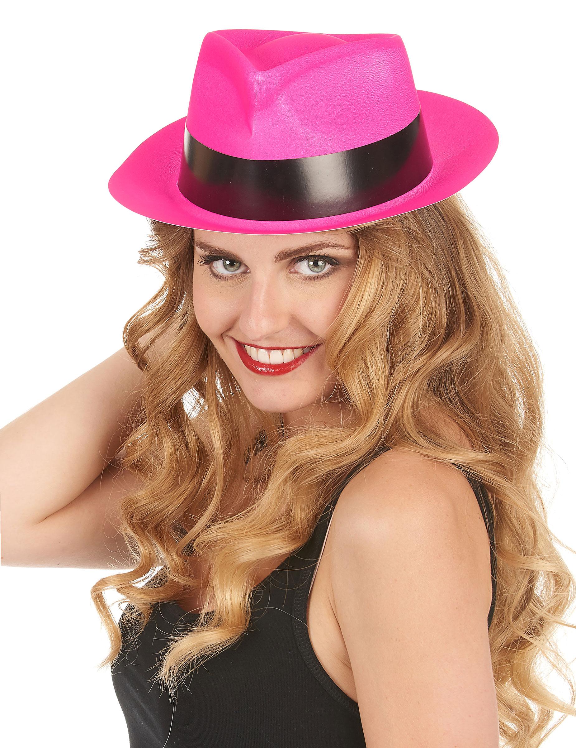 Sombrero gánster rosa fluorescente adulto  Sombreros 2f385f55670