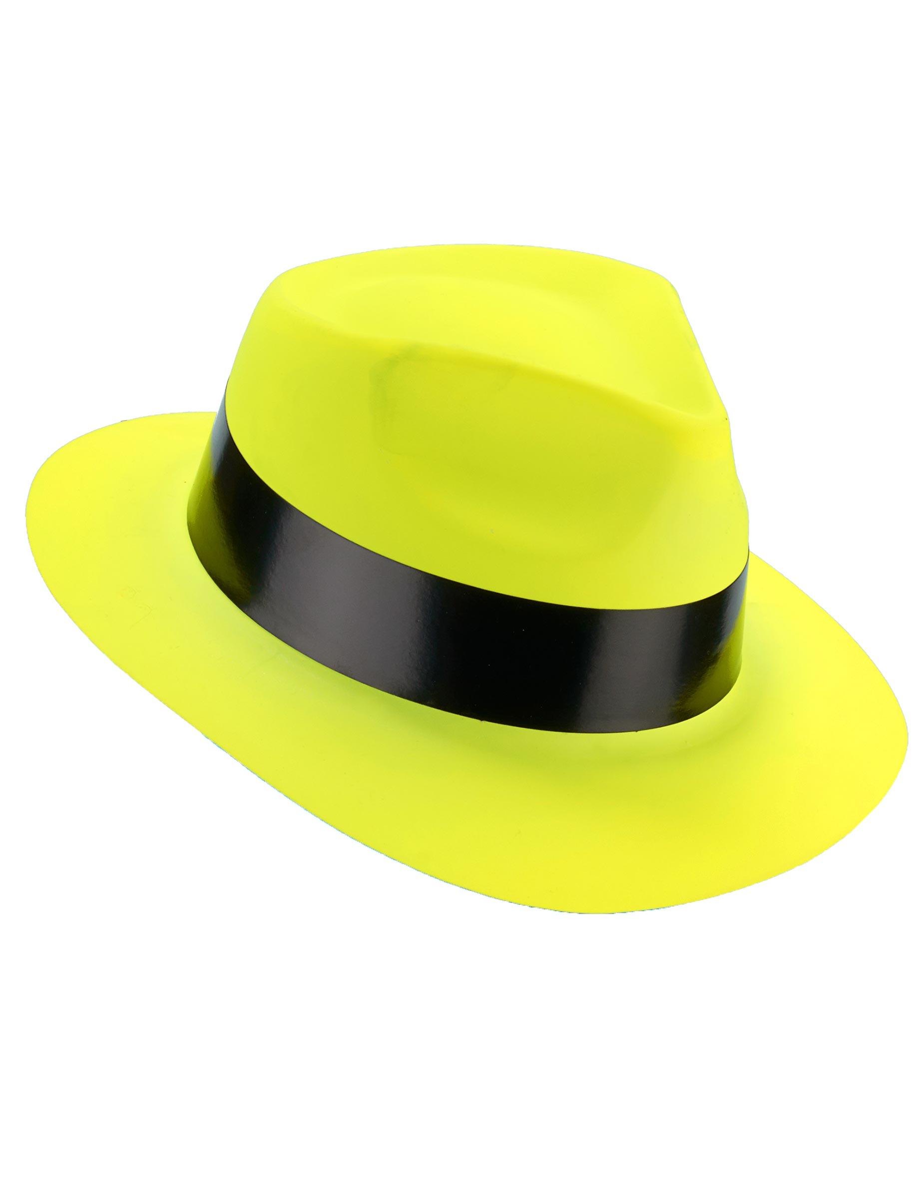 Sombrero gangster amarillo fluorescente adulto  Sombreros 5c3d7239358