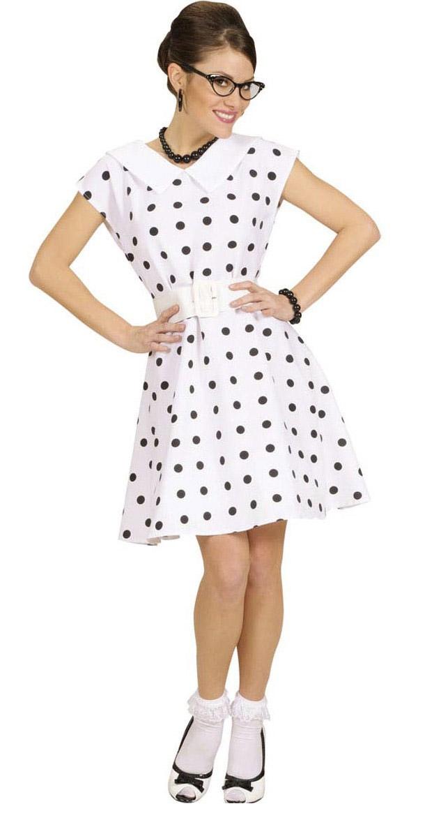 Disfraz vestido blanco con lunares años 50 mujer  Disfraces adultos ... 1b69dd9849c