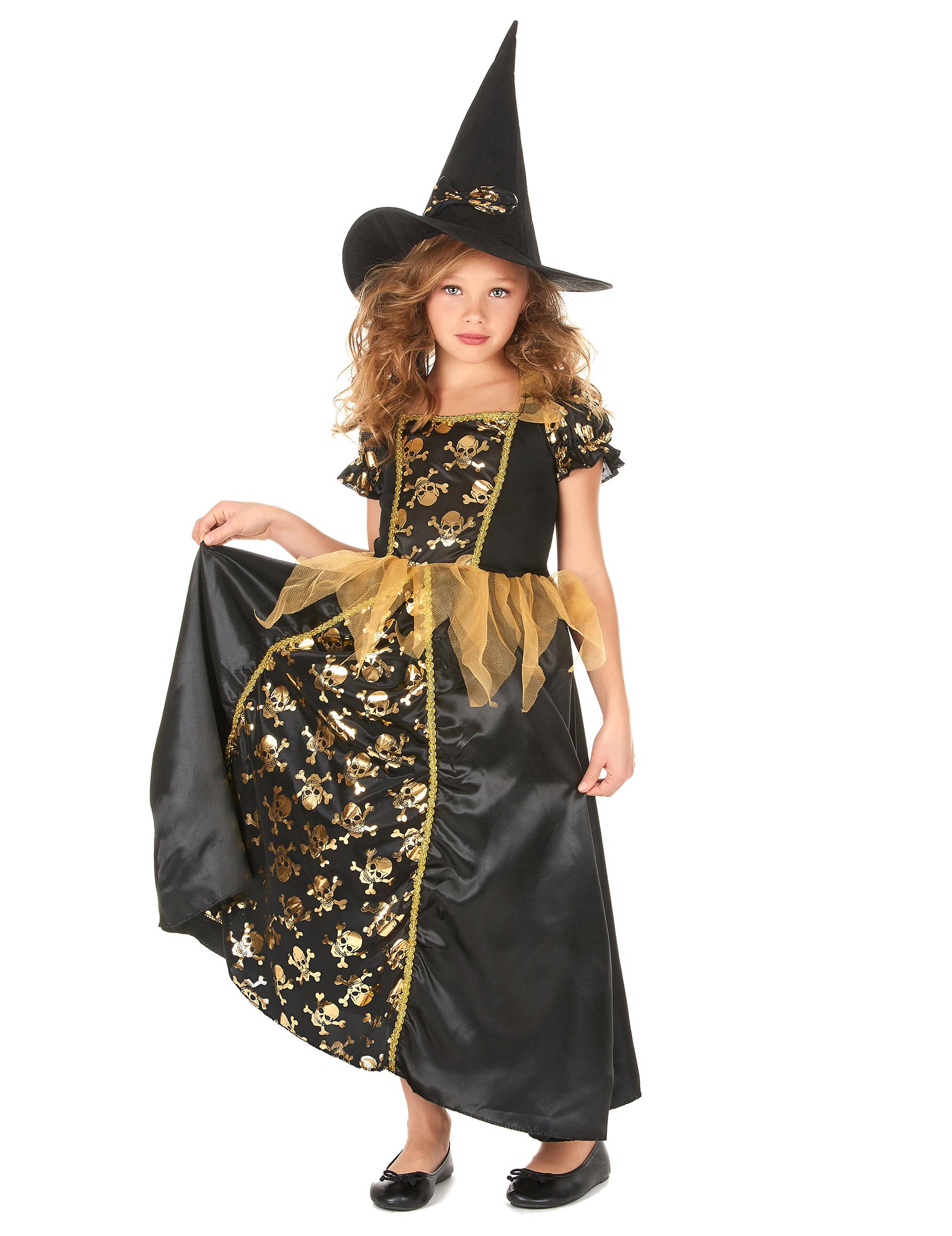 Disfraz bruja negro y oro niña  Disfraces niños bcae570924a