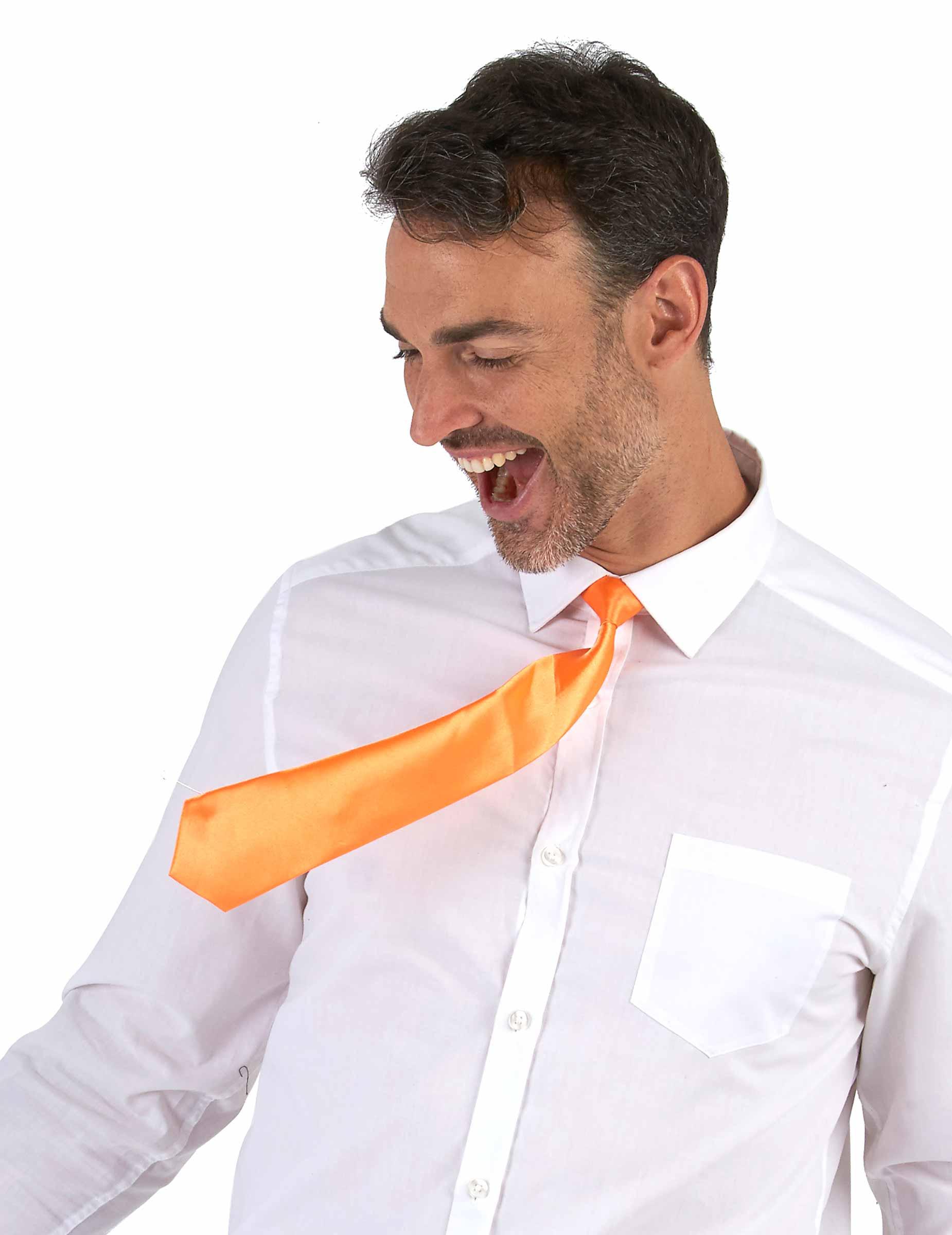 836d44a79 Corbata naranja fluorescente adulto