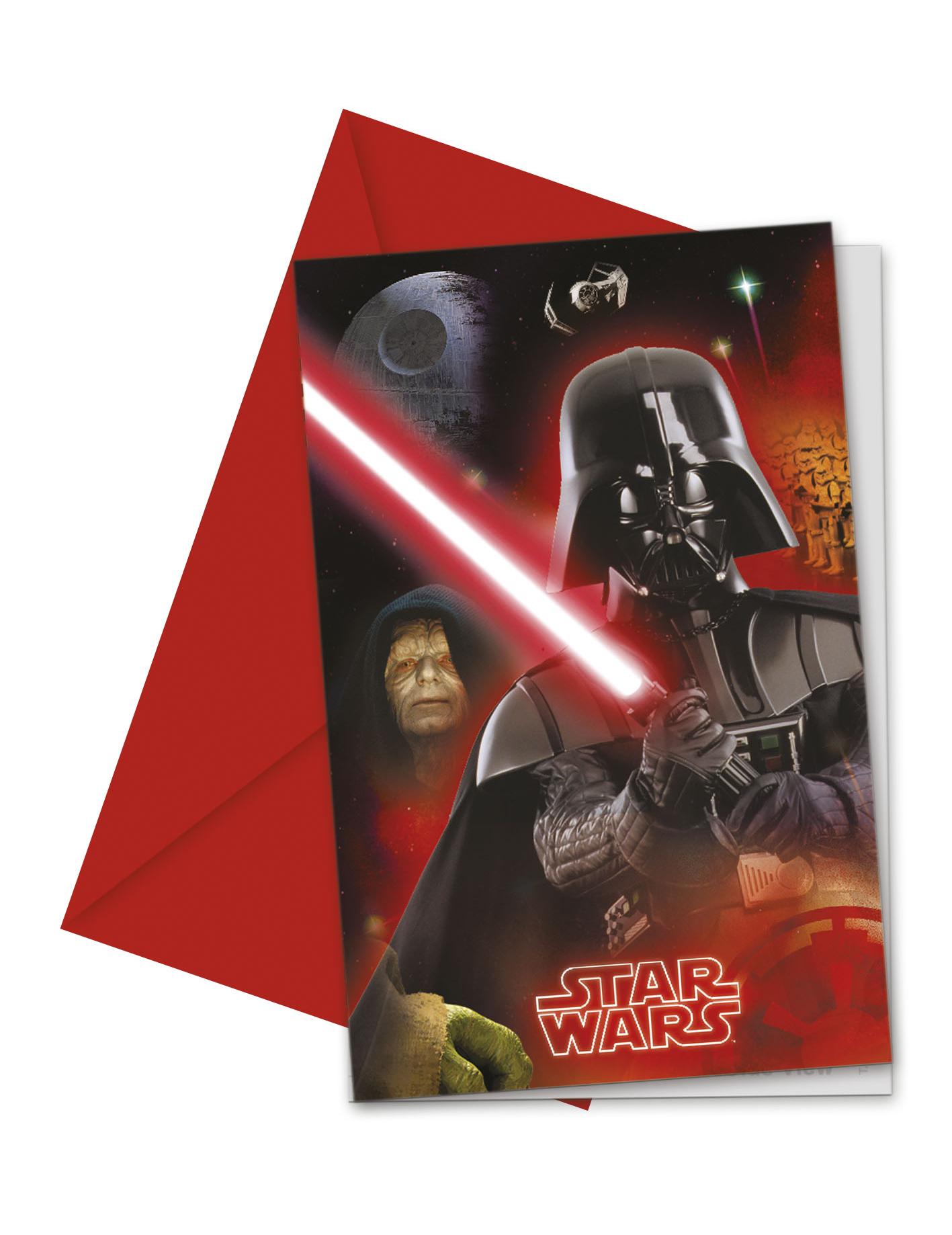 6 Tarjetas Invitación Star Wars