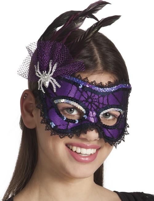 Antifaz violeta con plumas ara a mujer halloween m scaras for Disfraces antifaz