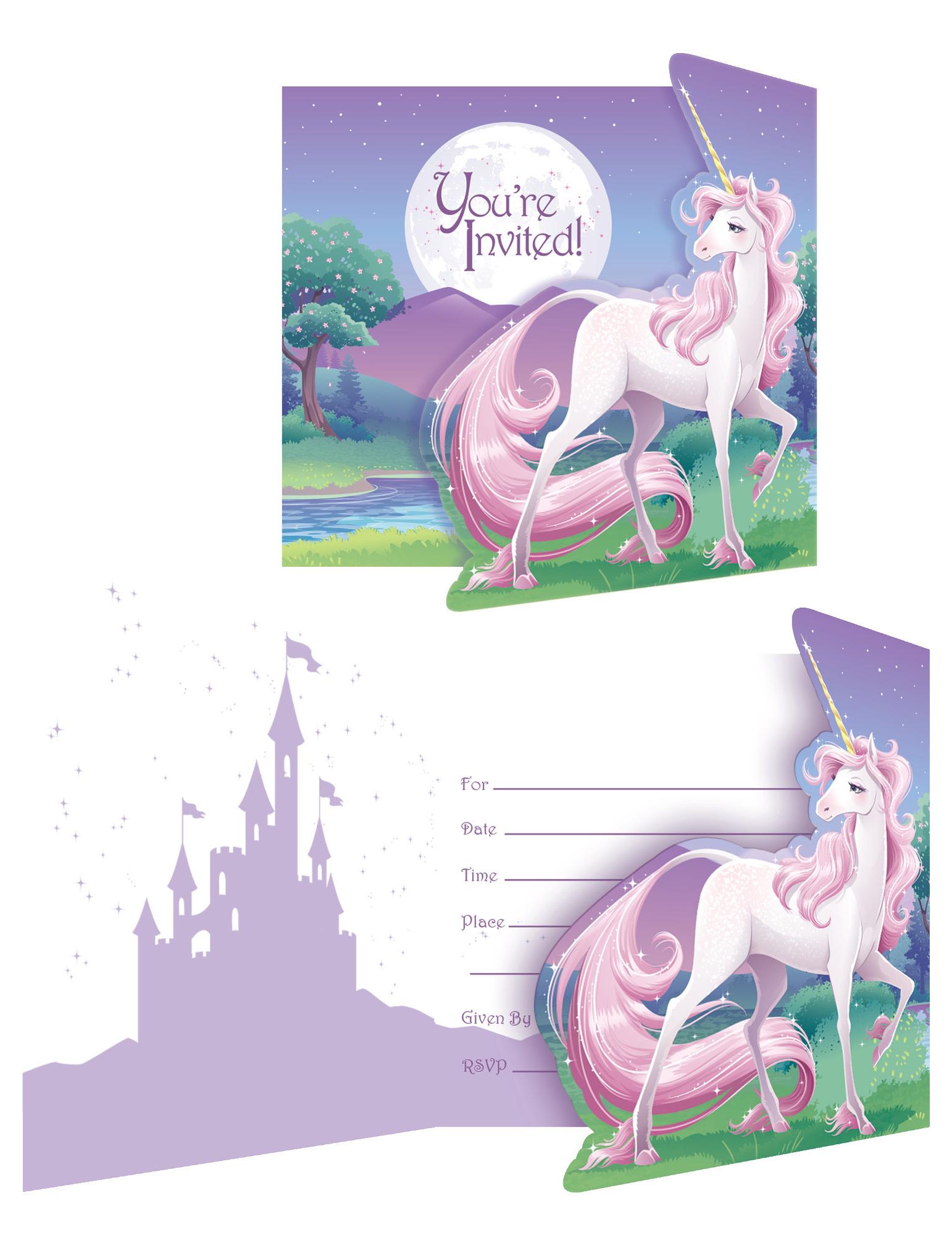 8 Tarjetas De Invitación Unicornio Mágico