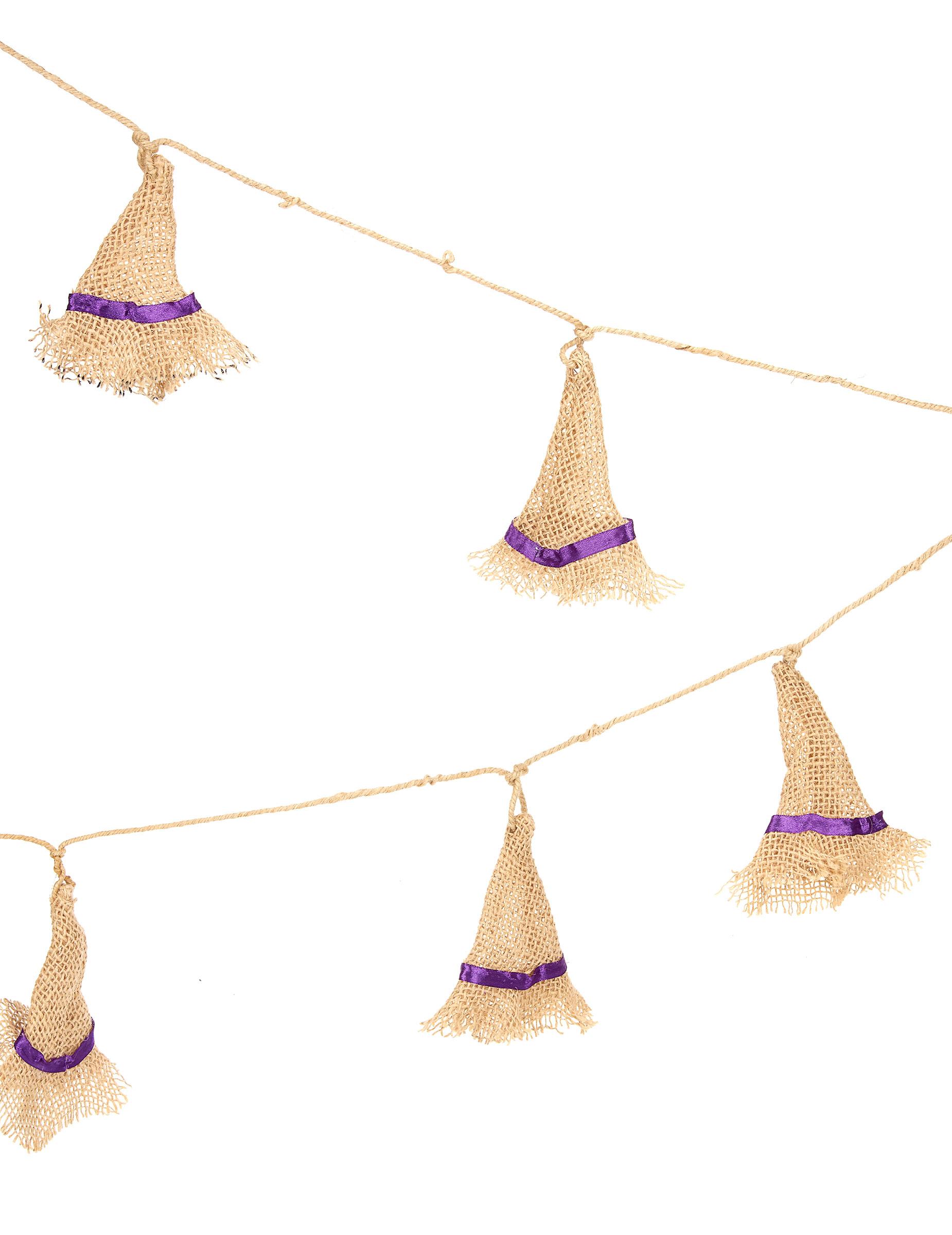 Guirnalda sombrero bruja yute 180 cm Halloween  Decoración 5024b1e1897