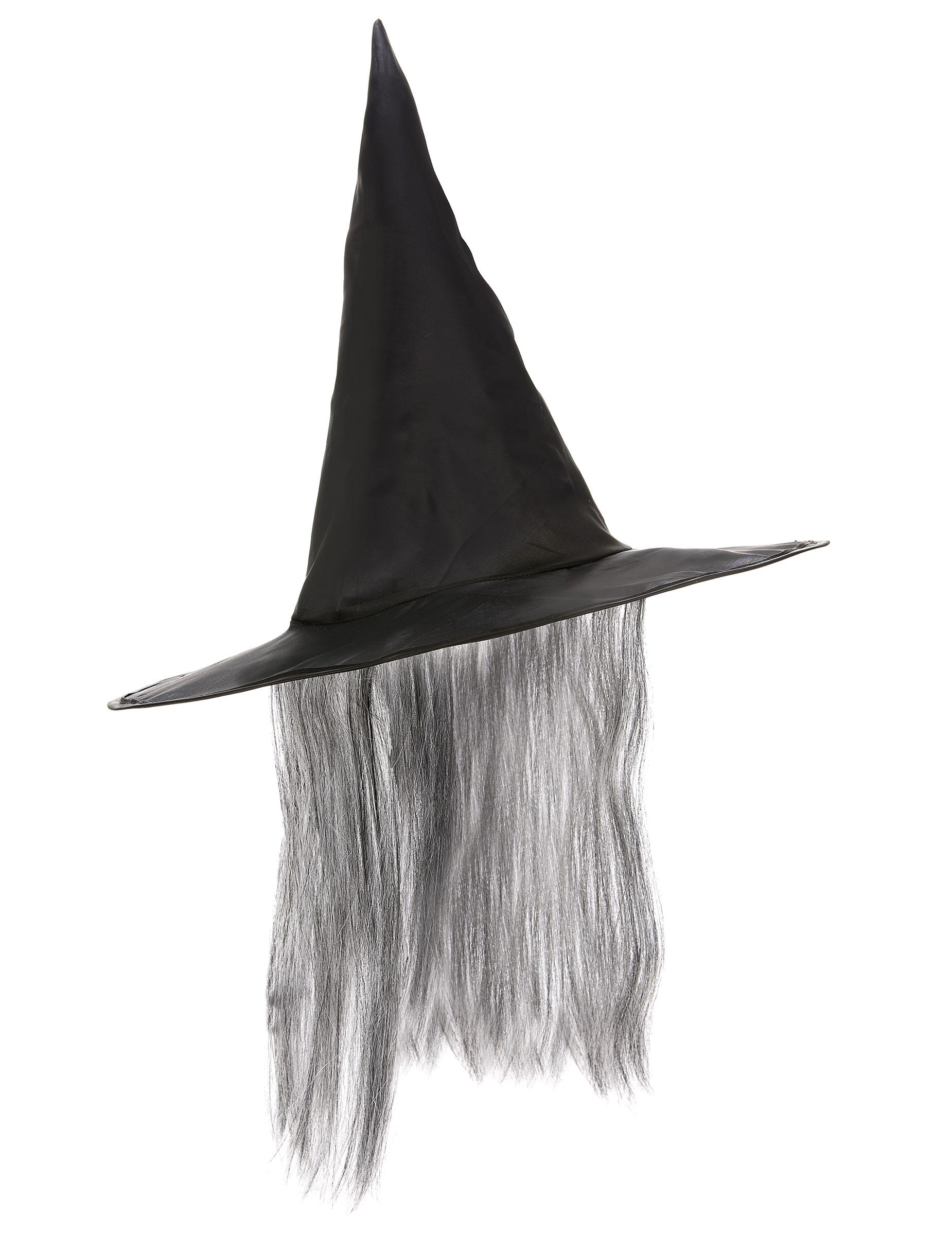 Sombrero Halloween bruja negro pelo gris adulto  Sombreros 99c1287457c