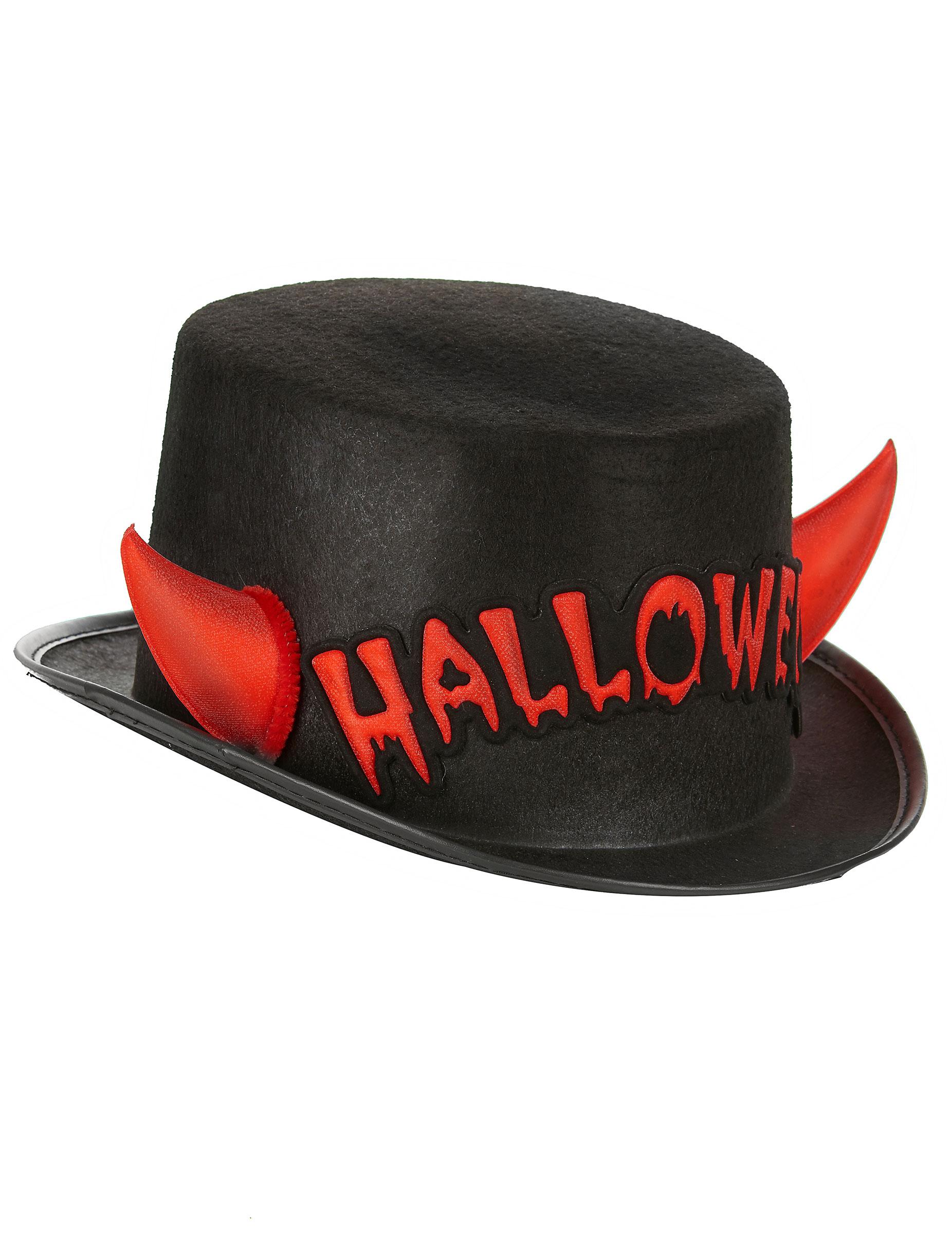 Sombrero de copa con cuernos adulto Halloween  Sombreros 7ab74a8123f