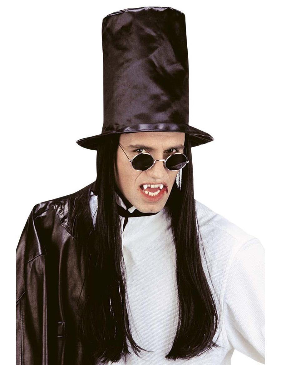 Sombrero de copa con pelo negro adulto Halloween  Sombreros e5f72555e89