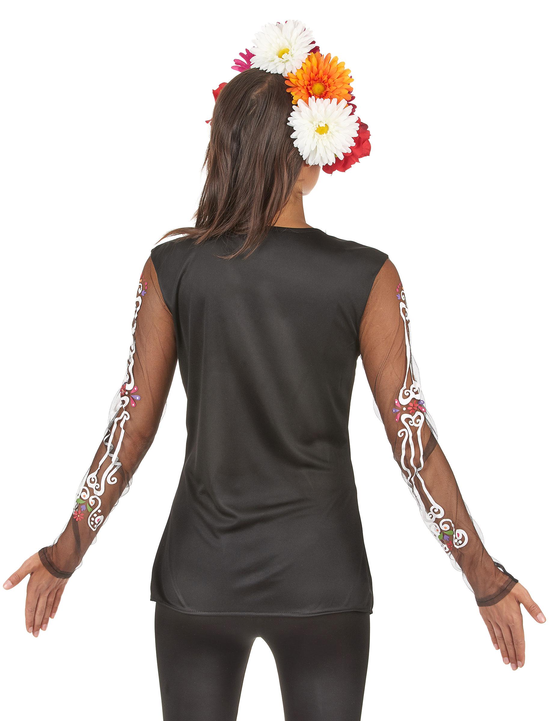 Camiseta esqueleto colores mujer Día de los Muertos: Disfraces ...