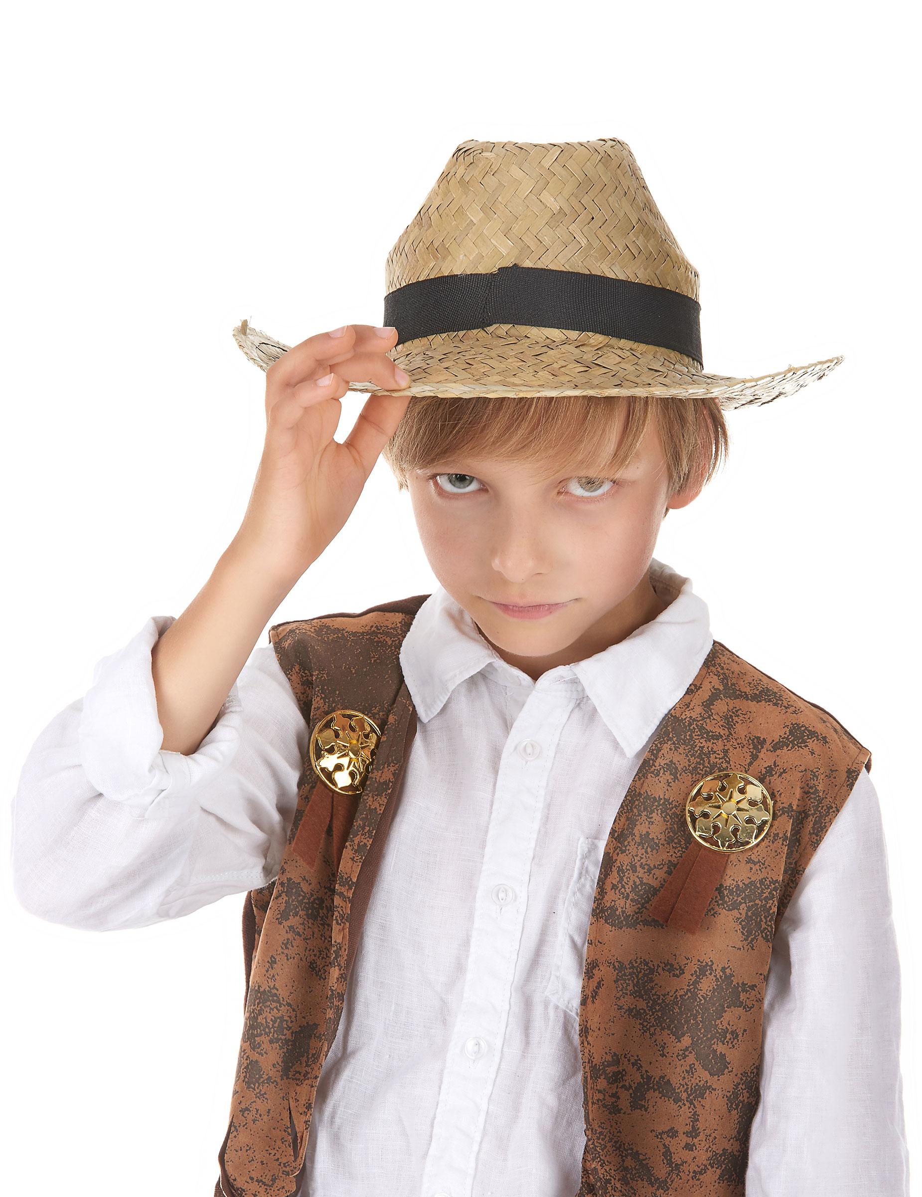 Sombrero cowboy paja niño  Sombreros 15479b9f134