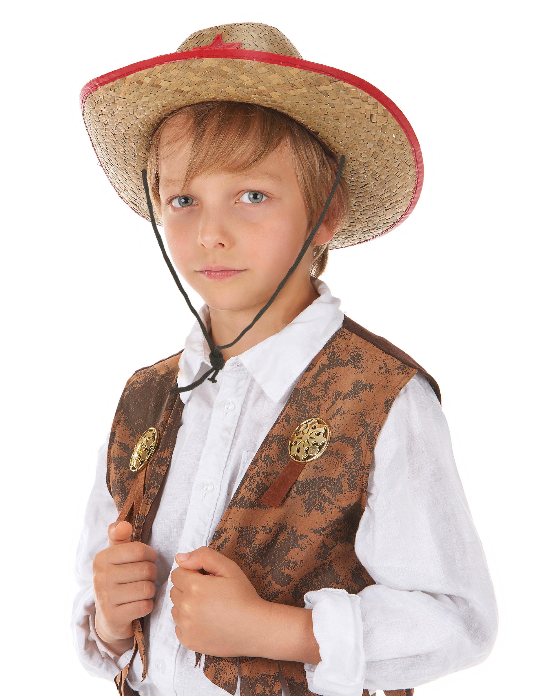 3496e3f0ce47a Sombrero cowboy del oeste paja niño  Sombreros