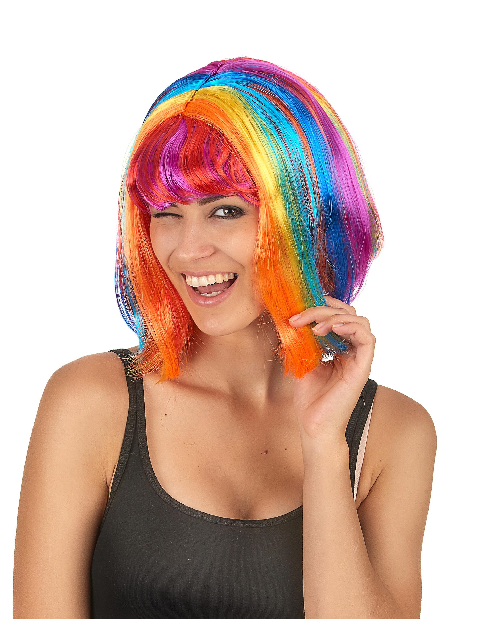 Peluca recta multicolor flequillo mujer  Pelucas 513af1e8f38e