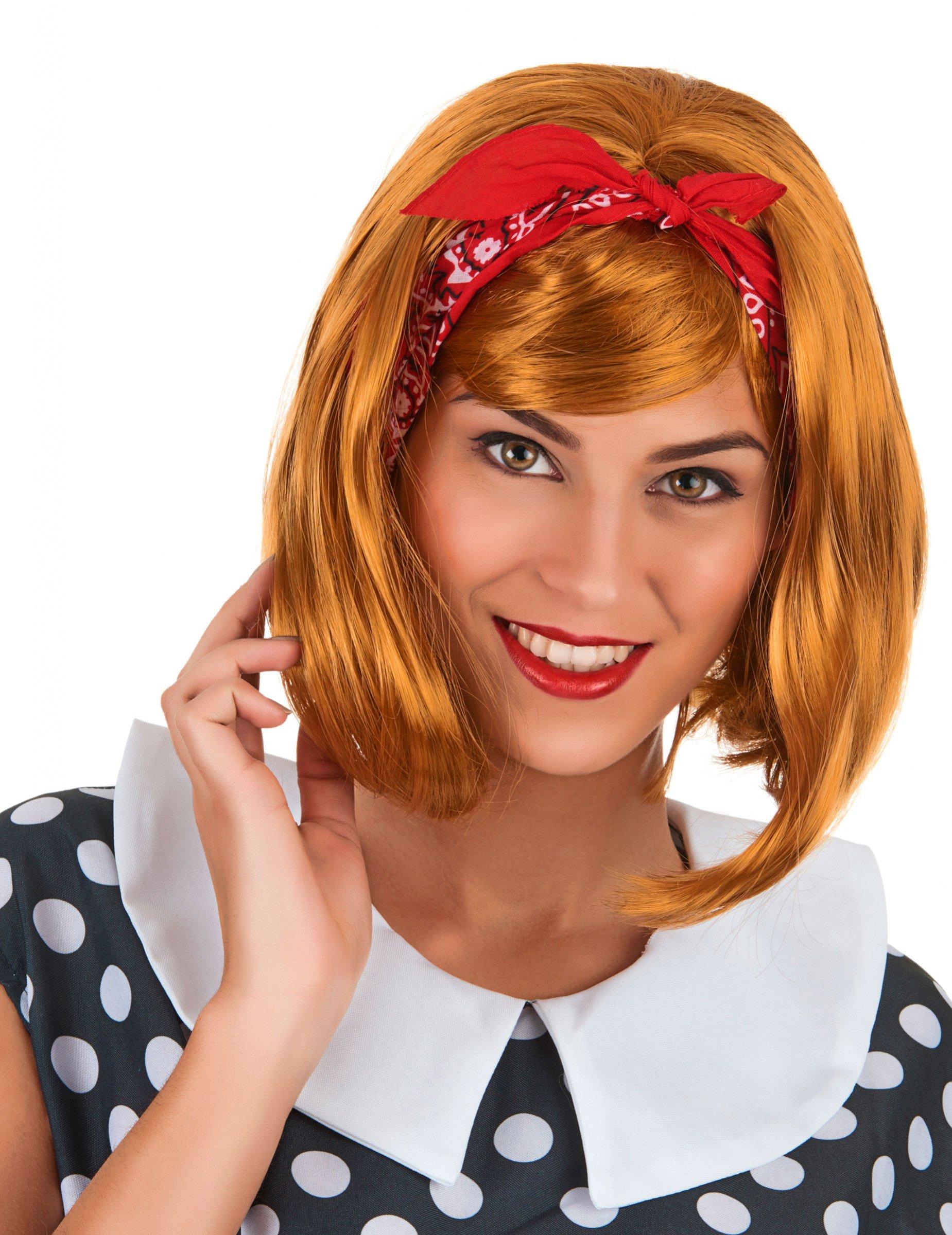 peluca pelirroja recta flequillo mujer pelucas y