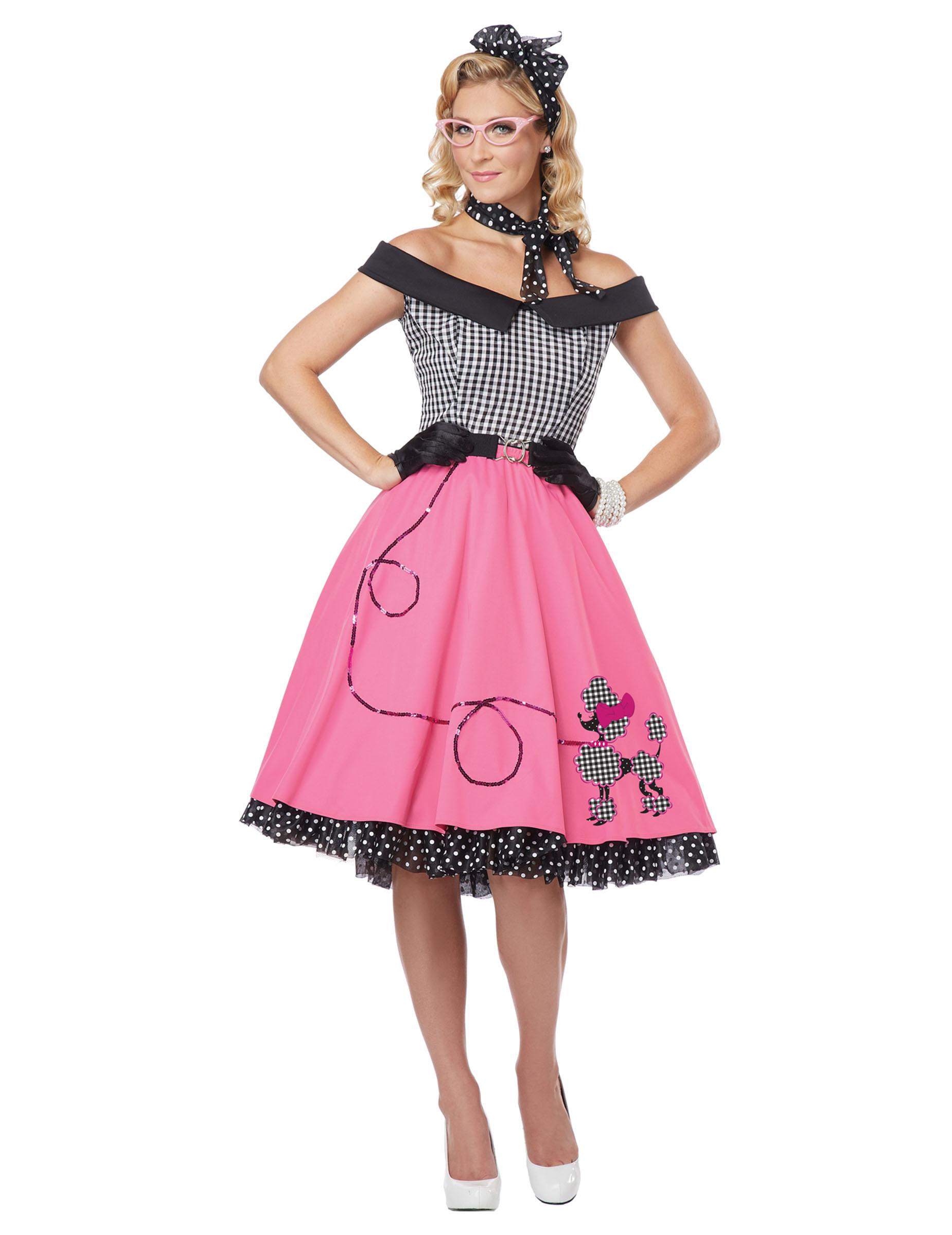 Disfraz años 50 negro y rosa perro para mujer: Disfraces adultos,y ...