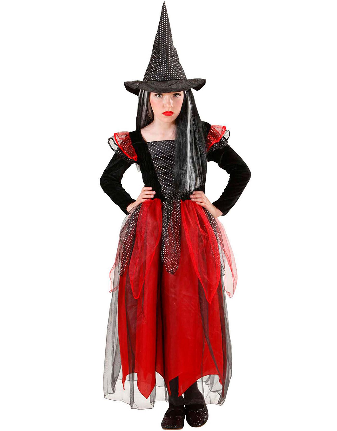 Disfraz Halloween bruja negro y rojo niña